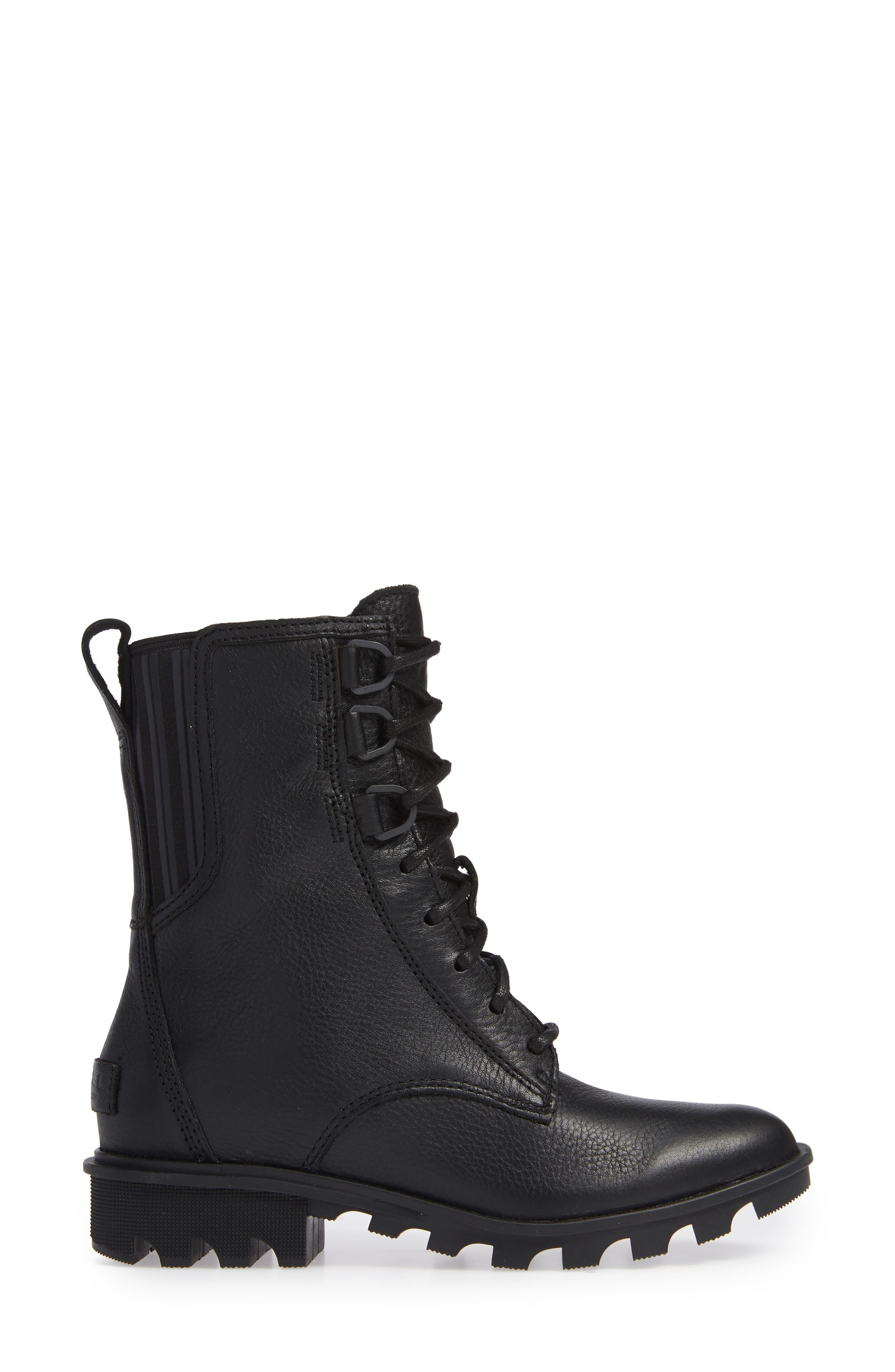 Phoenix Lace-Up Boot,                             Alternate thumbnail 3, color,                             BLACK