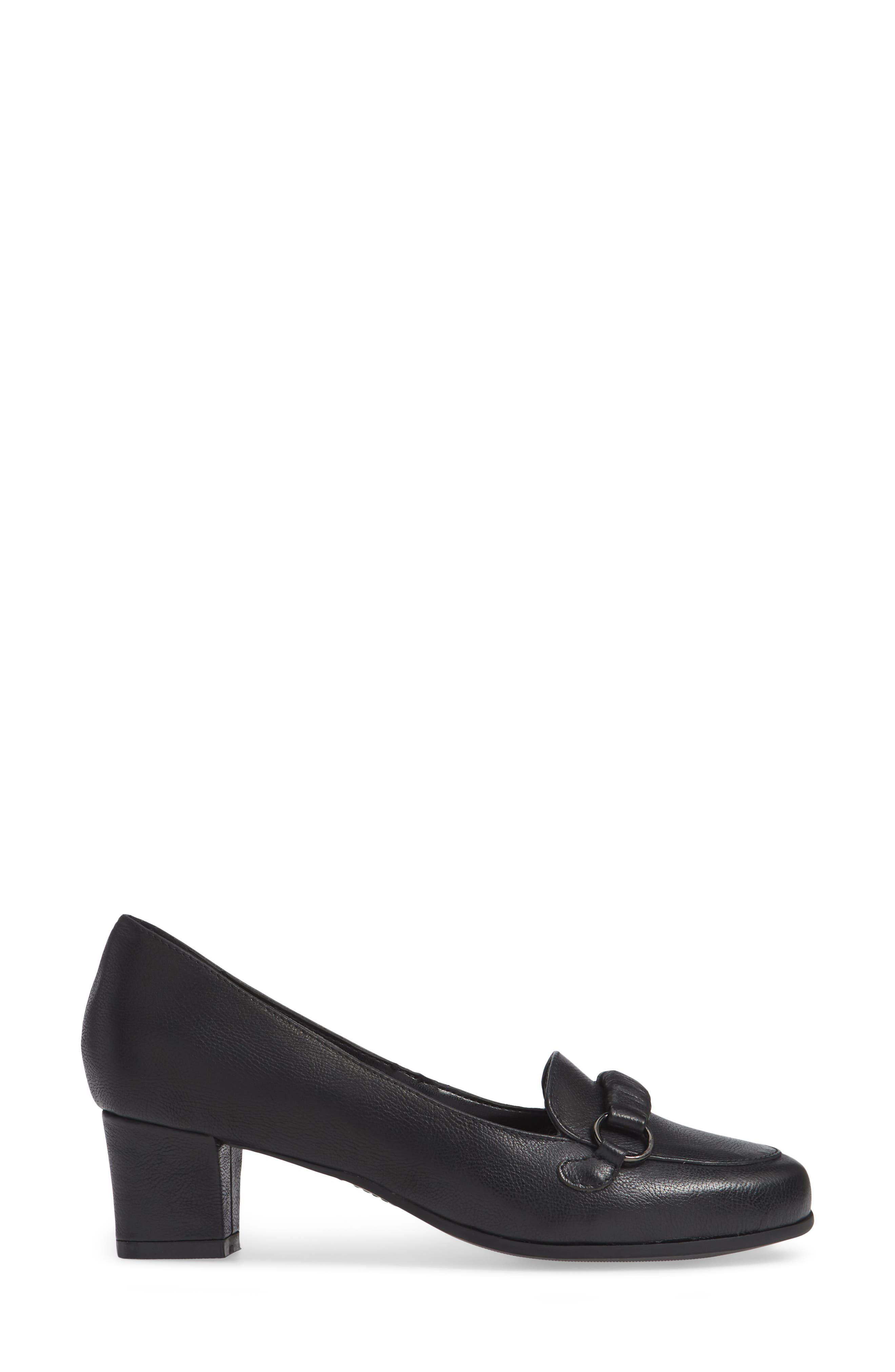Perky Loafer Pump,                             Alternate thumbnail 3, color,                             BLACK LEATHER