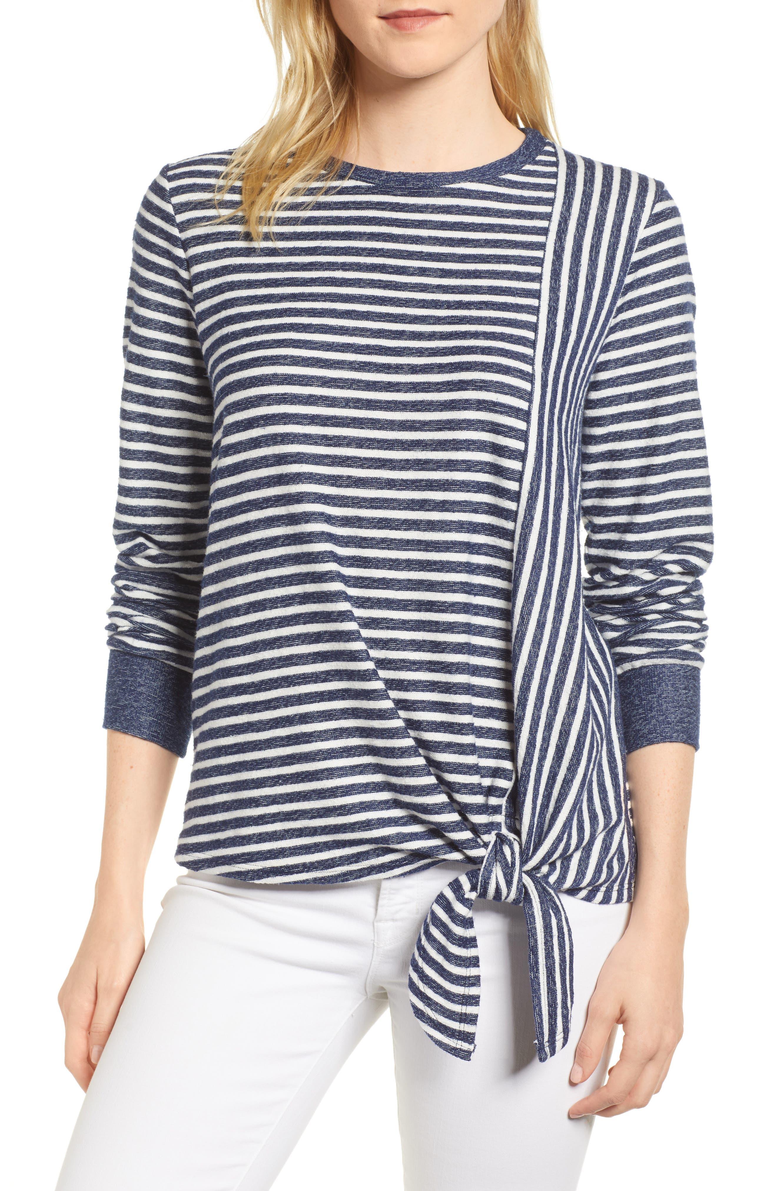 Tie Front Stripe Top,                         Main,                         color, 433