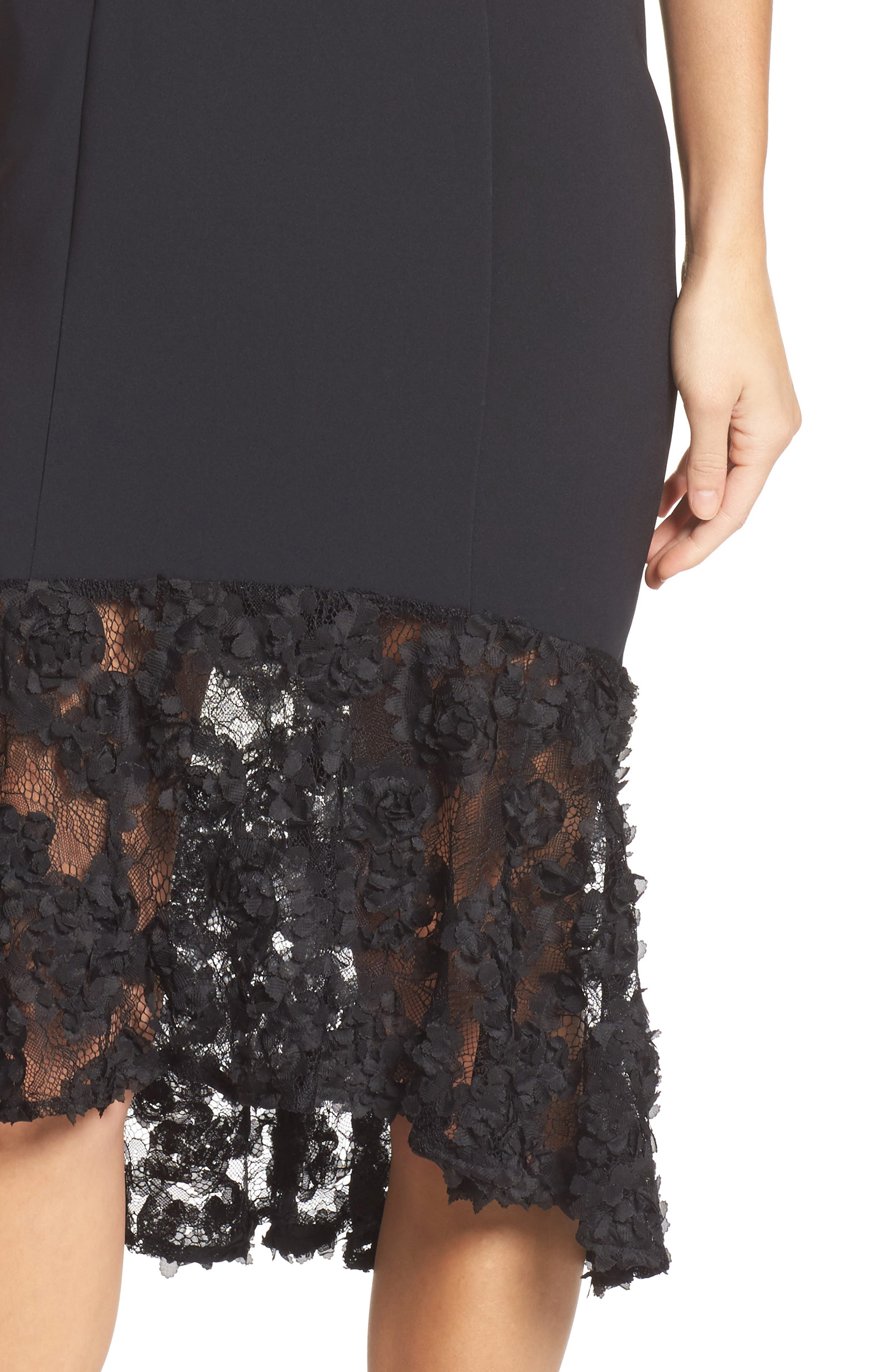 Milly Lace Flounce Slipdress,                             Alternate thumbnail 4, color,                             001