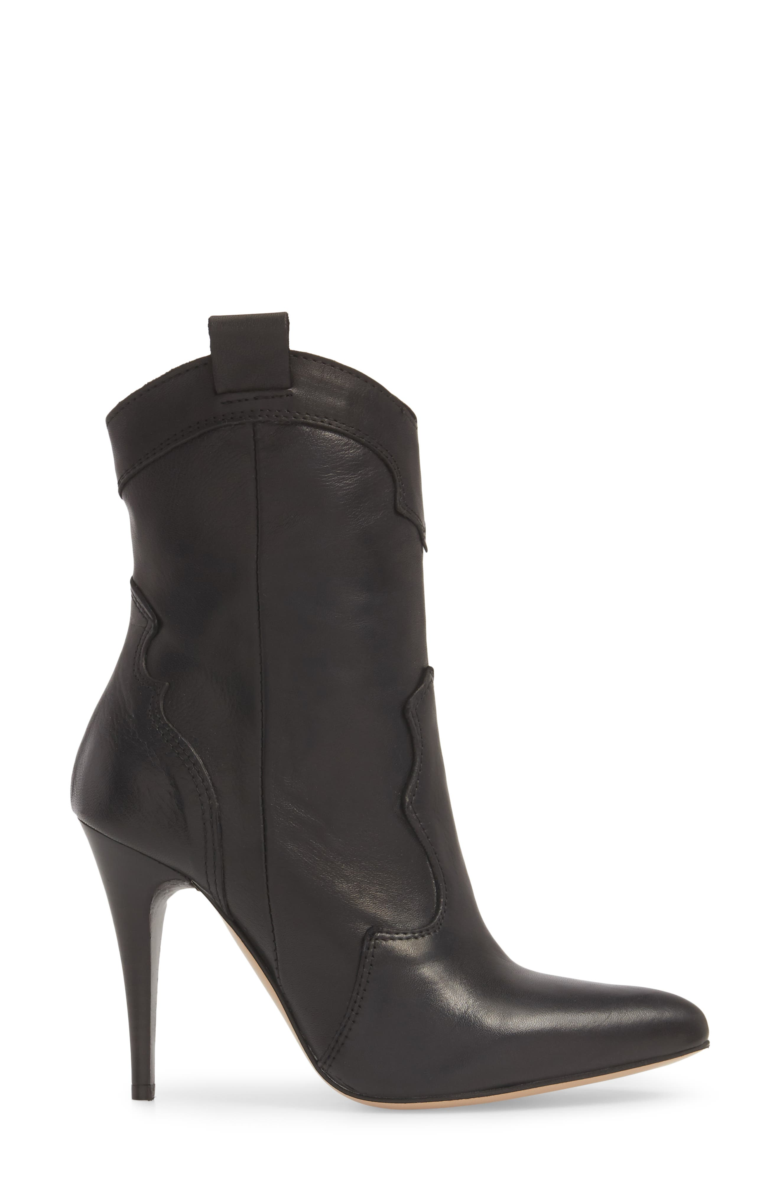 Kimberly Western Bootie,                             Alternate thumbnail 3, color,                             BLACK LEATHER