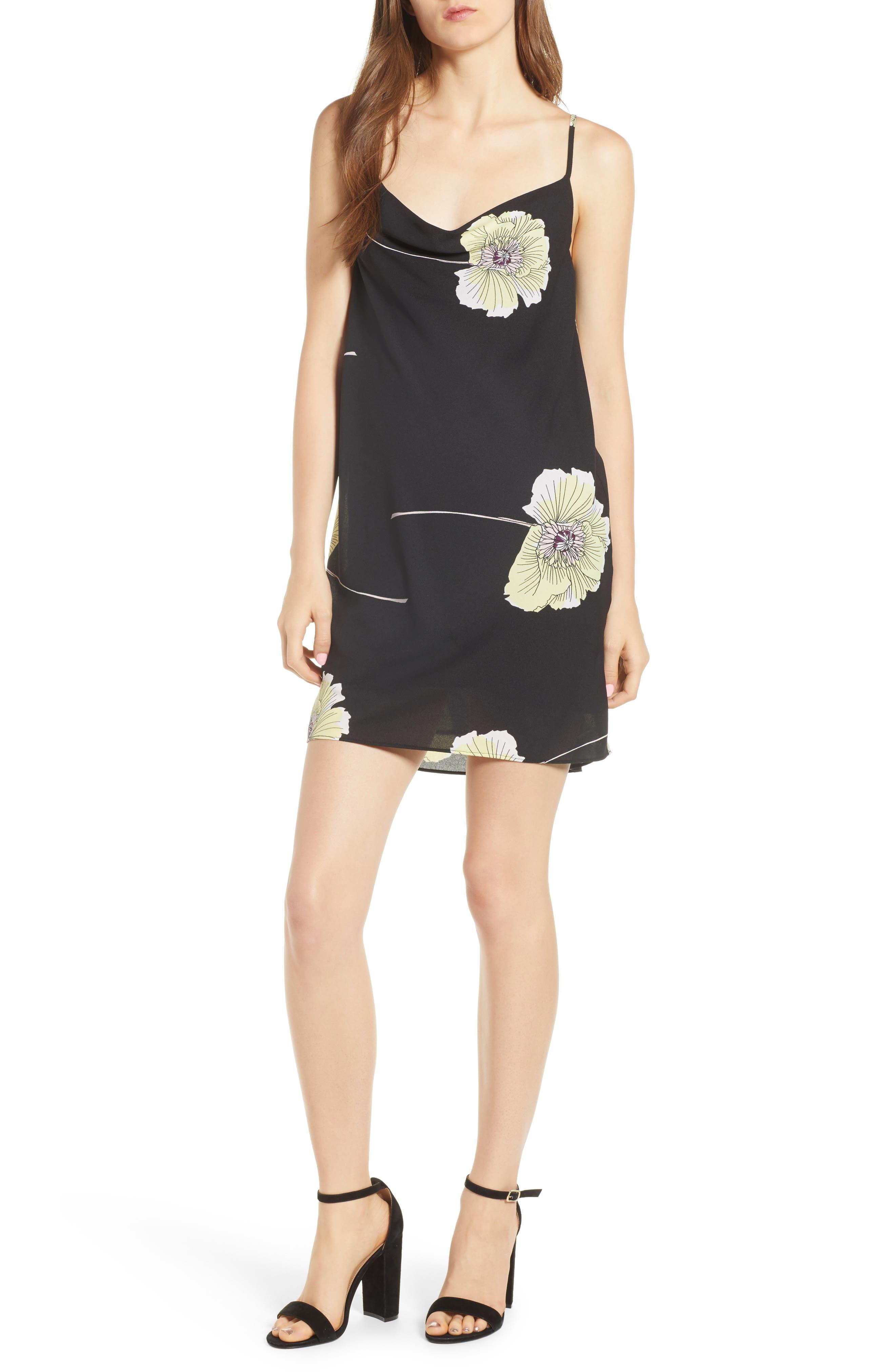 Cowl Neck Slipdress,                         Main,                         color, RICH BLACK