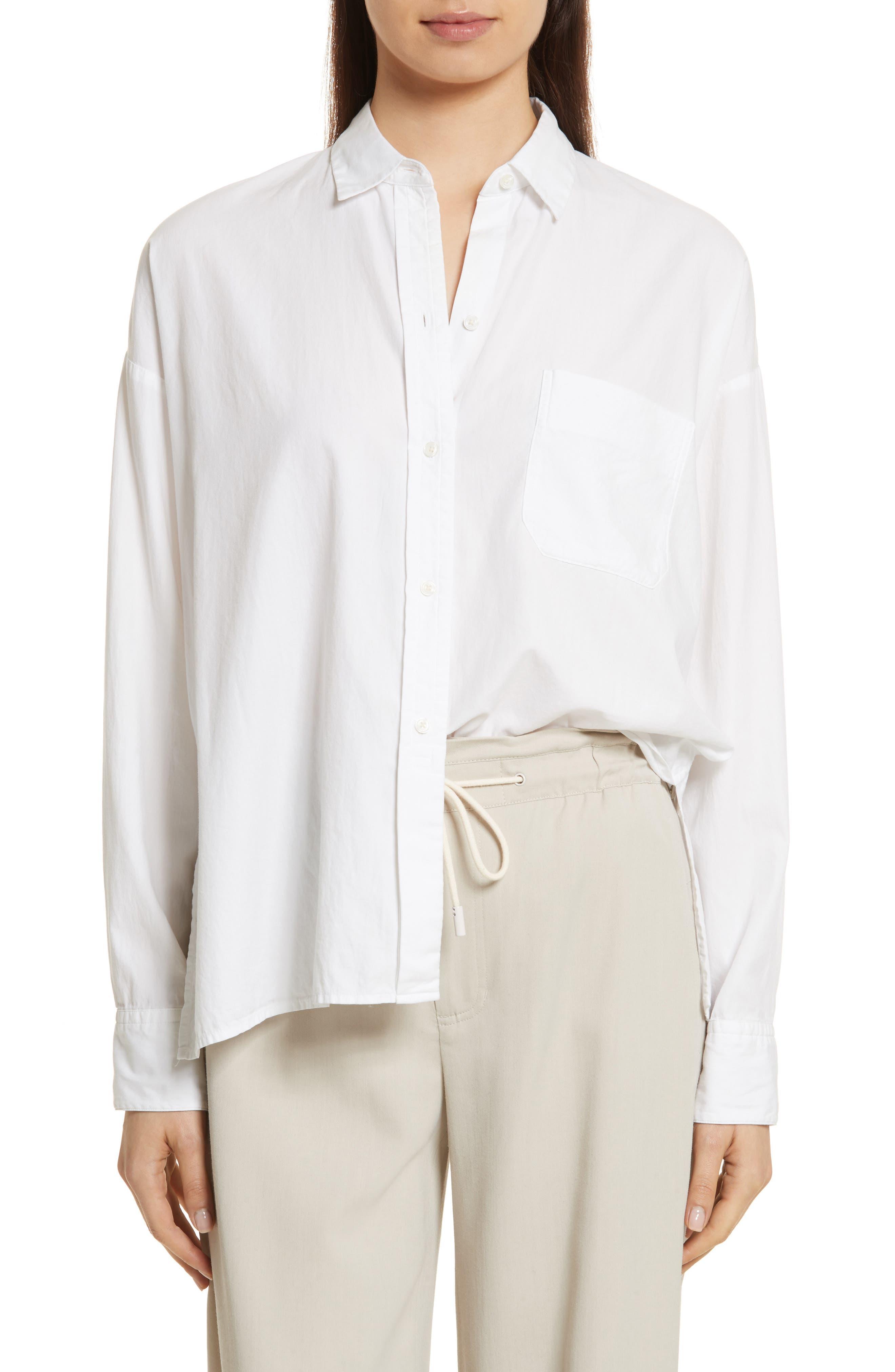 Single Pocket Cotton & Silk Shirt,                         Main,                         color, 100