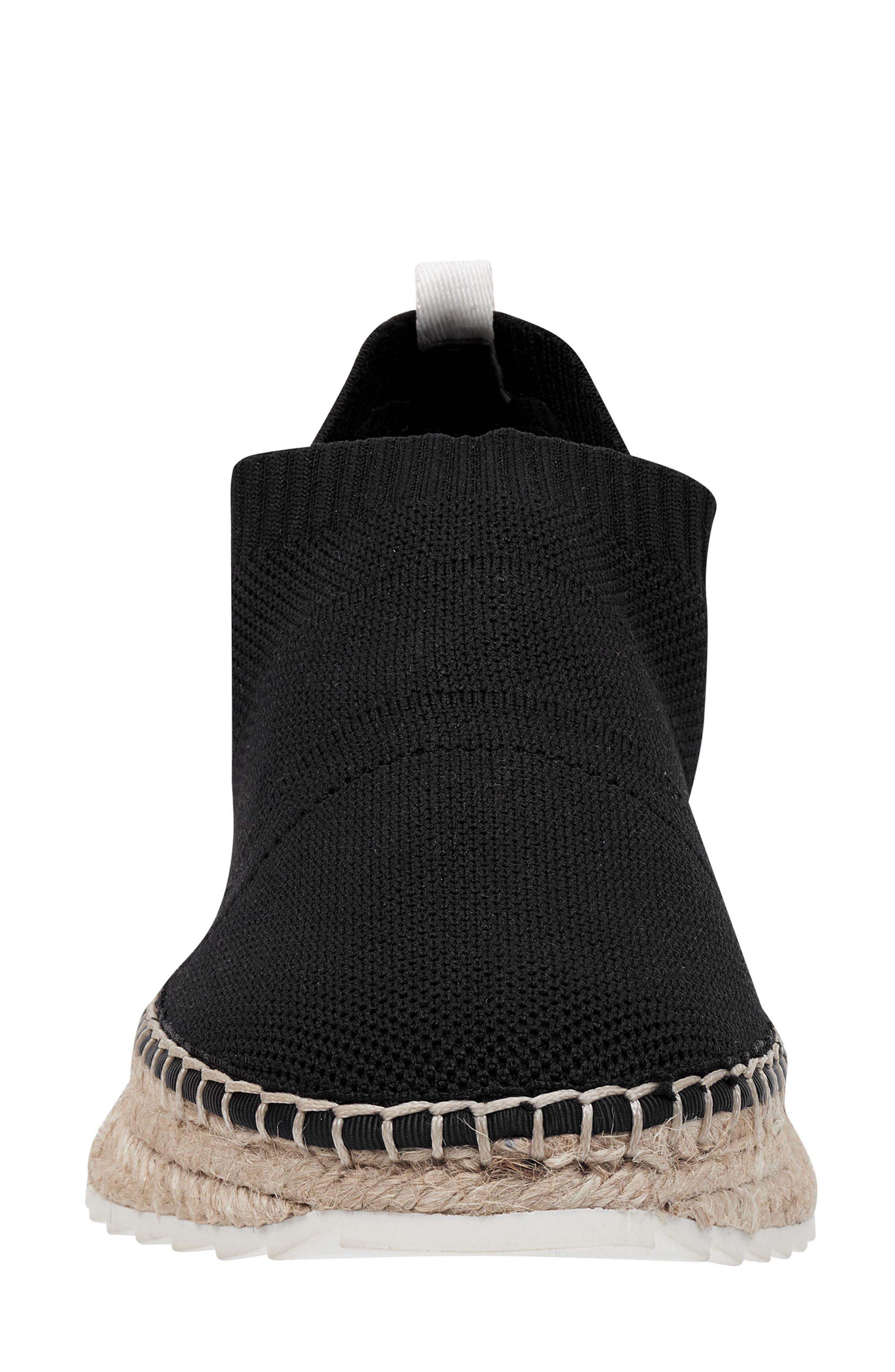 MARC FISHER LTD,                             Jilly Espadrille Sneaker,                             Alternate thumbnail 4, color,                             BLACK FABRIC