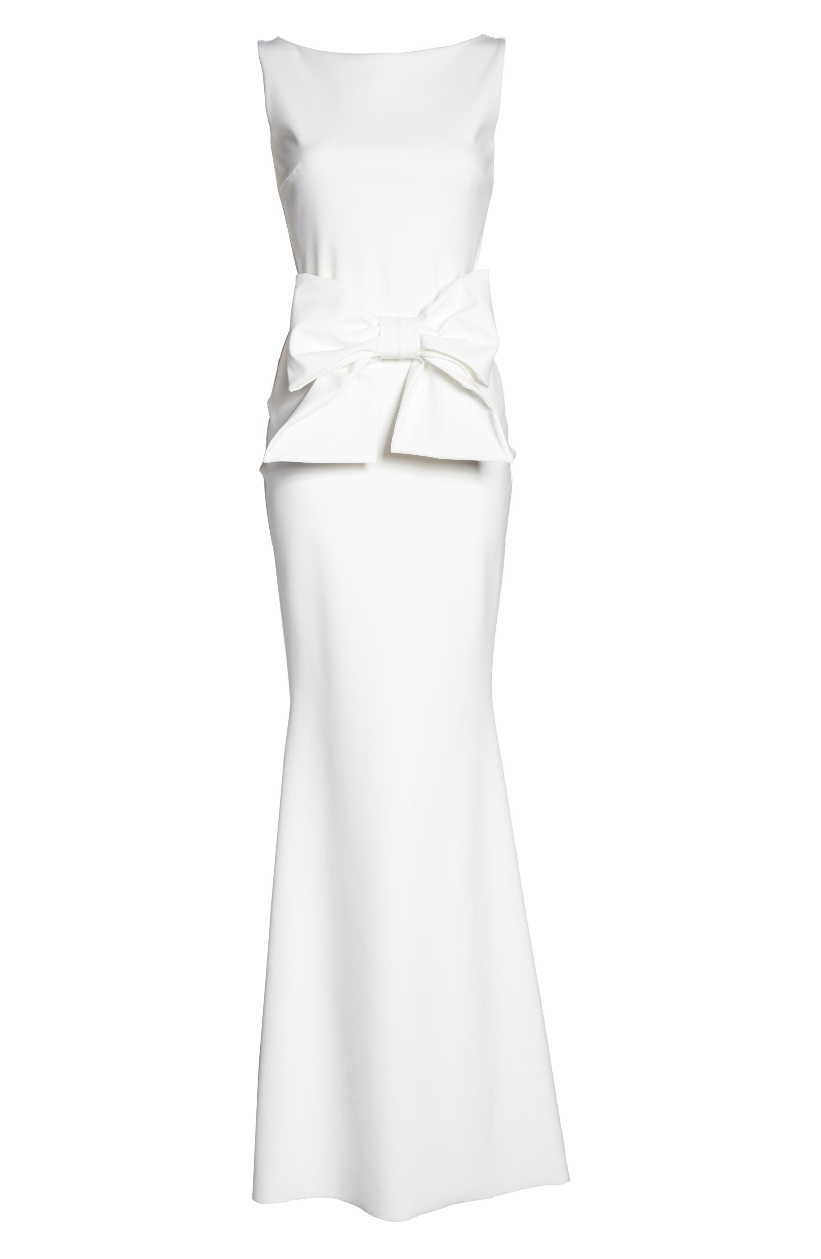 CHIARA BONI LA PETITE ROBE,                             Bow Detail Sleeveless Gown,                             Alternate thumbnail 6, color,                             100