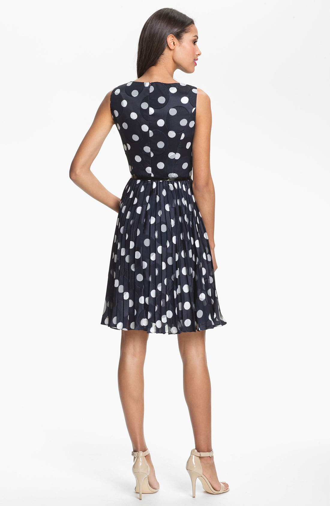 ADRIANNA PAPELL,                             Burnout Polka Dot Fit & Flare Dress,                             Alternate thumbnail 2, color,                             412