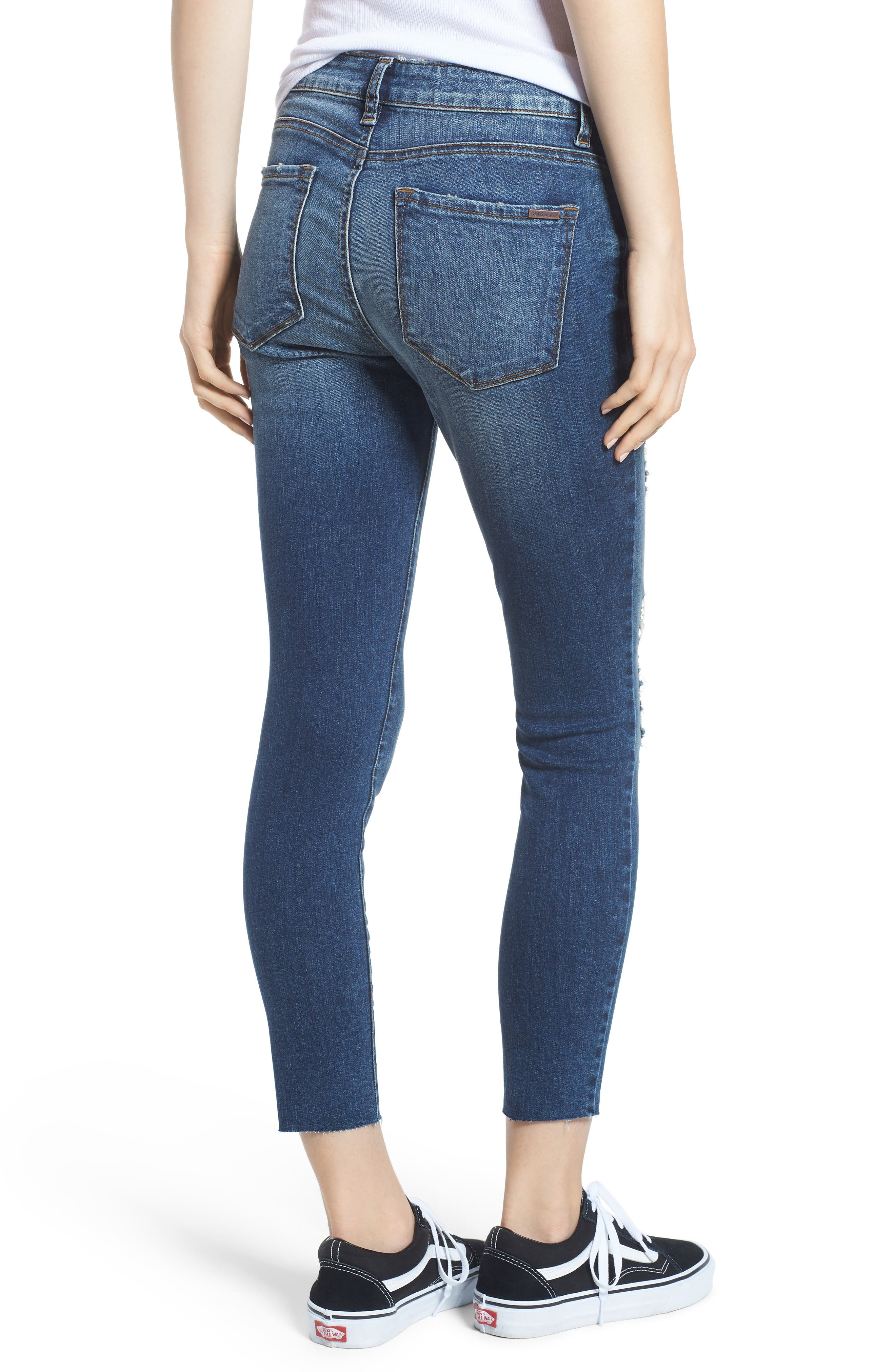 STS Blue Ripped Cutoff Crop Skinny Jeans,                             Alternate thumbnail 2, color,                             FLORA W/ DK BASE