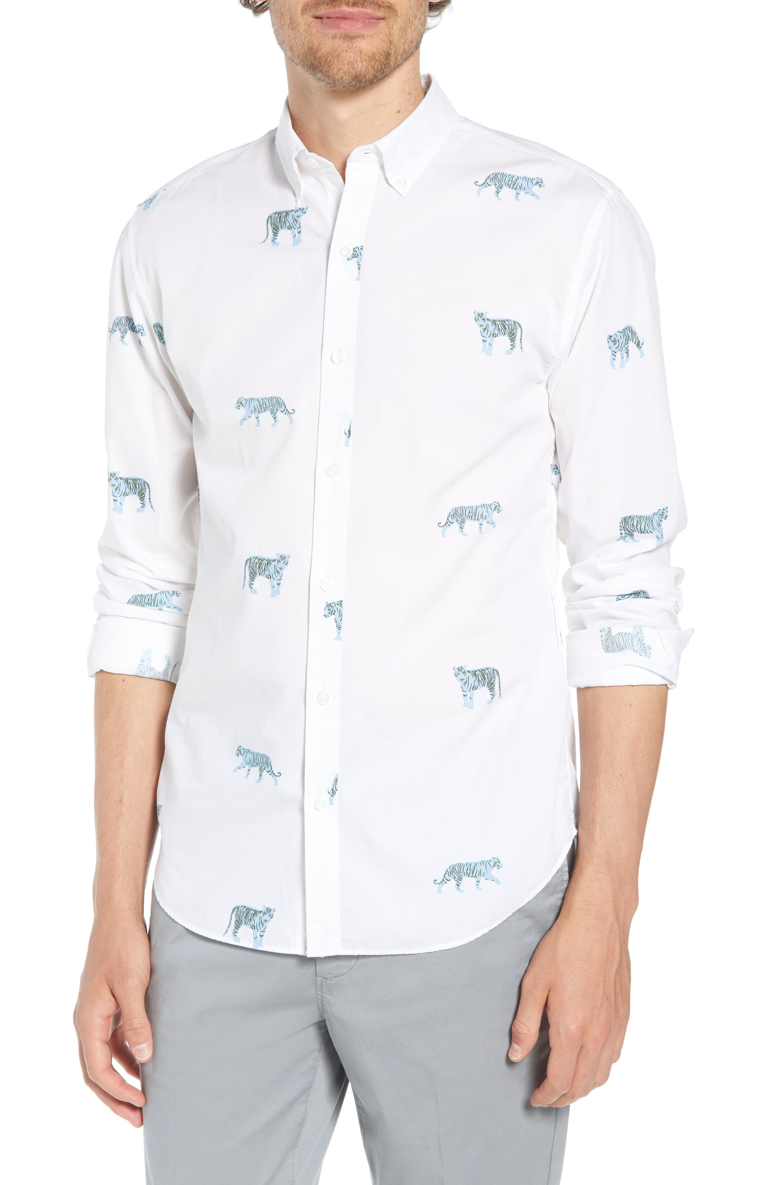 Summerweight Slim Fit Tiger Print Sport Shirt,                         Main,                         color, 100