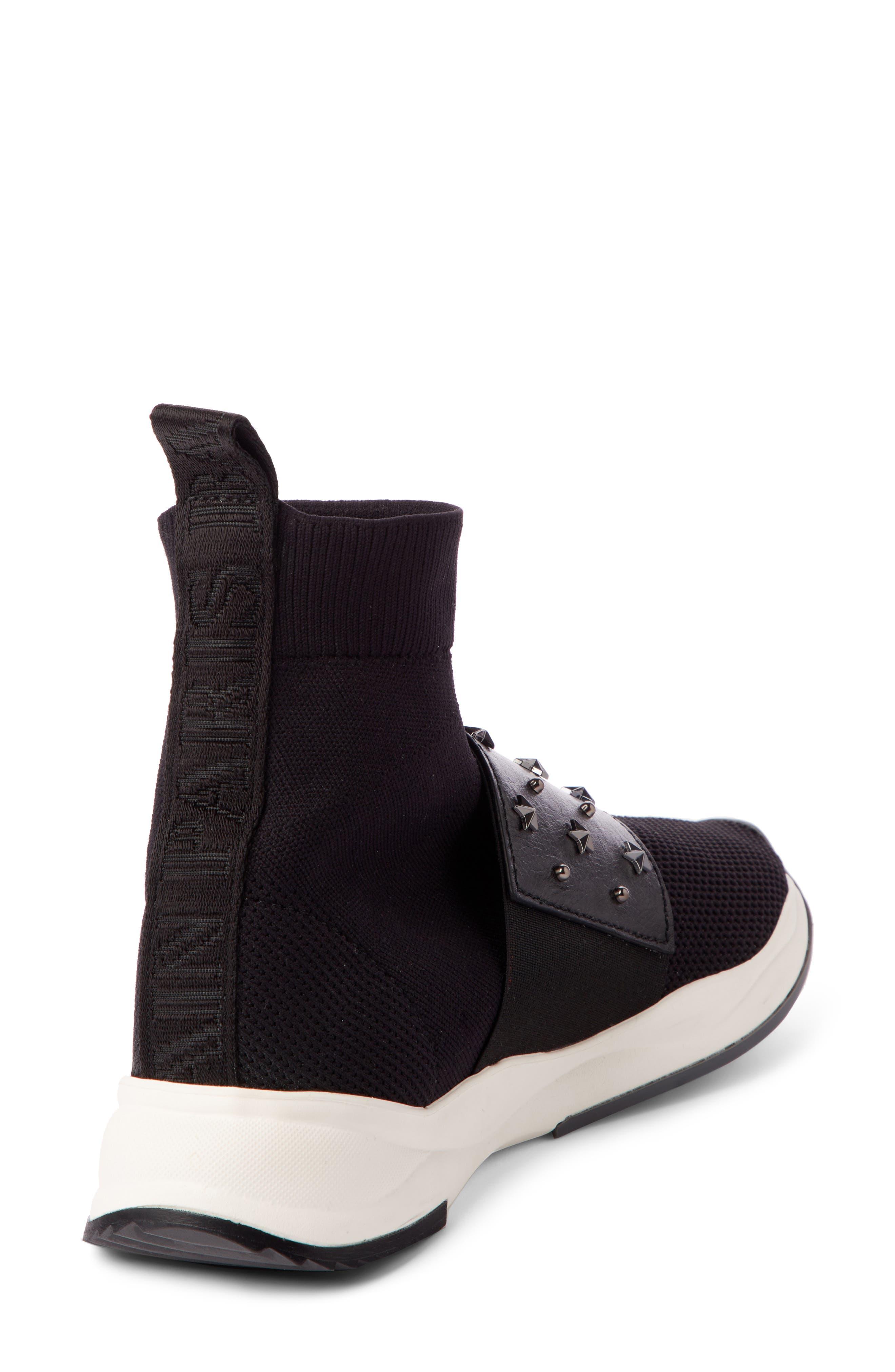 Cameron Studded Sock Sneaker,                             Alternate thumbnail 2, color,                             BLACK