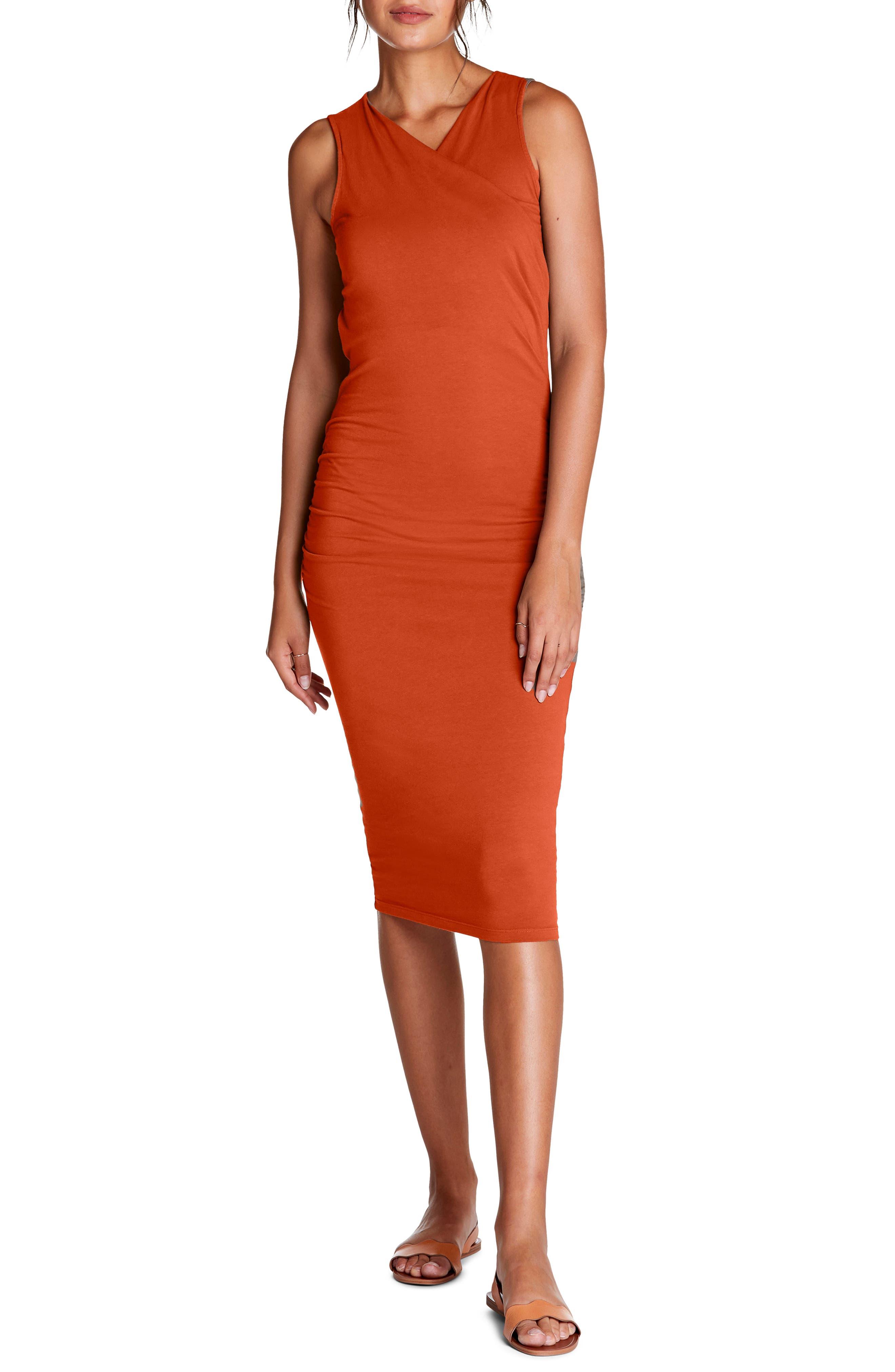 Michael Stars Faux Wrap Midi Dress, Orange