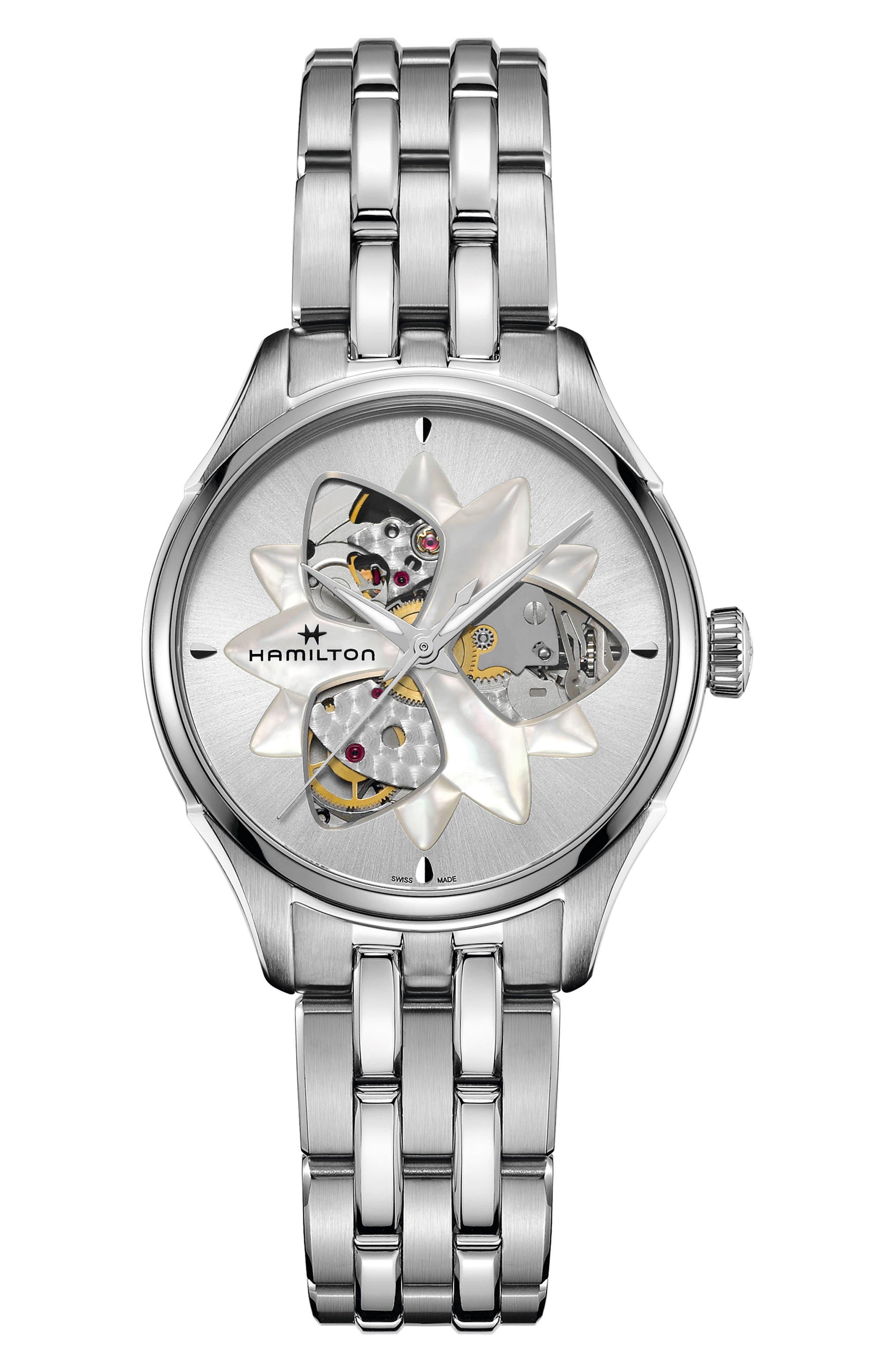 Jazzmaster Viewmatic Open Heart Bracelet Watch, 34mm,                             Main thumbnail 1, color,                             SILVER/ MOP/ SILVER