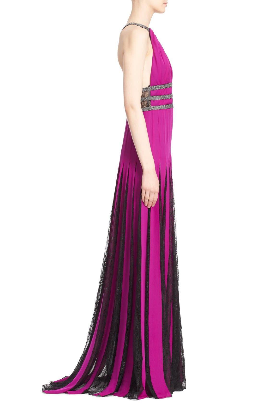 Couture Silk Halter Gown with Lace Pleats,                             Alternate thumbnail 5, color,