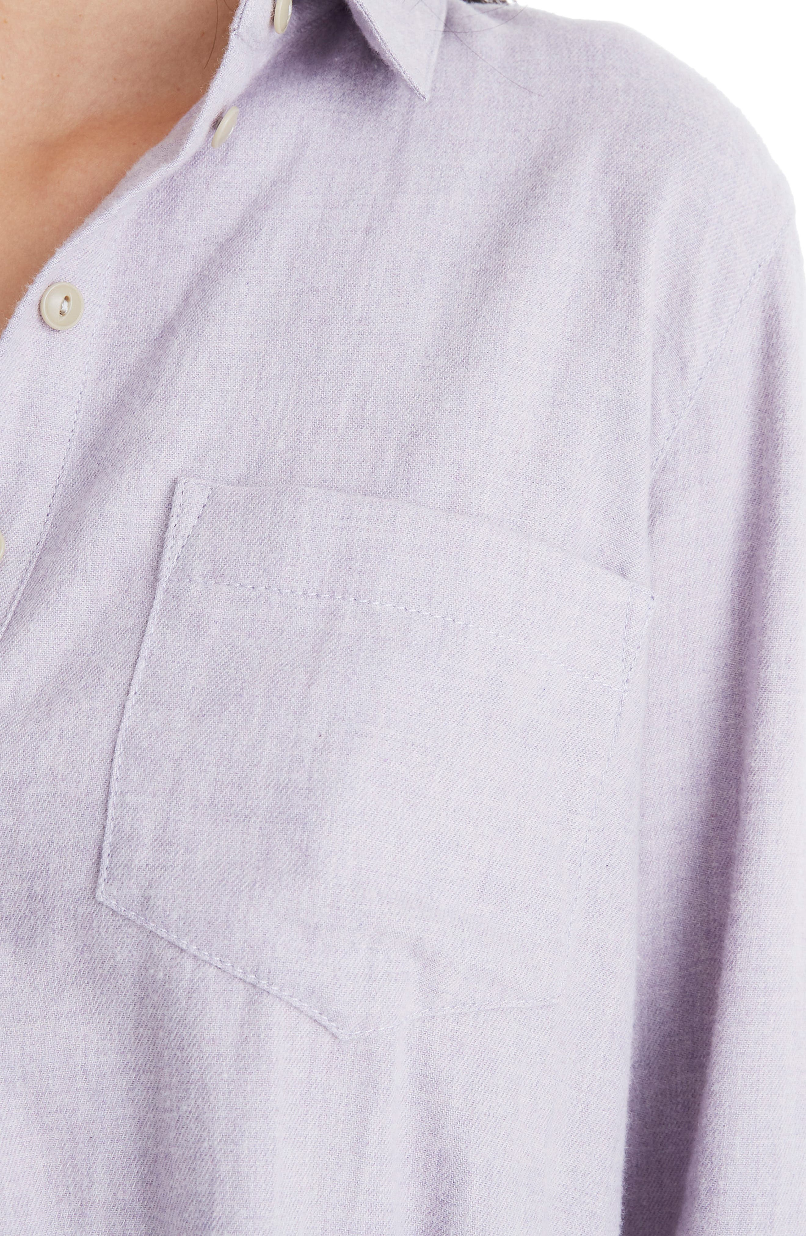 MADEWELL,                             Ex-Boyfriend Button Back Flannel Shirt,                             Alternate thumbnail 4, color,                             HEATHER THISTLE
