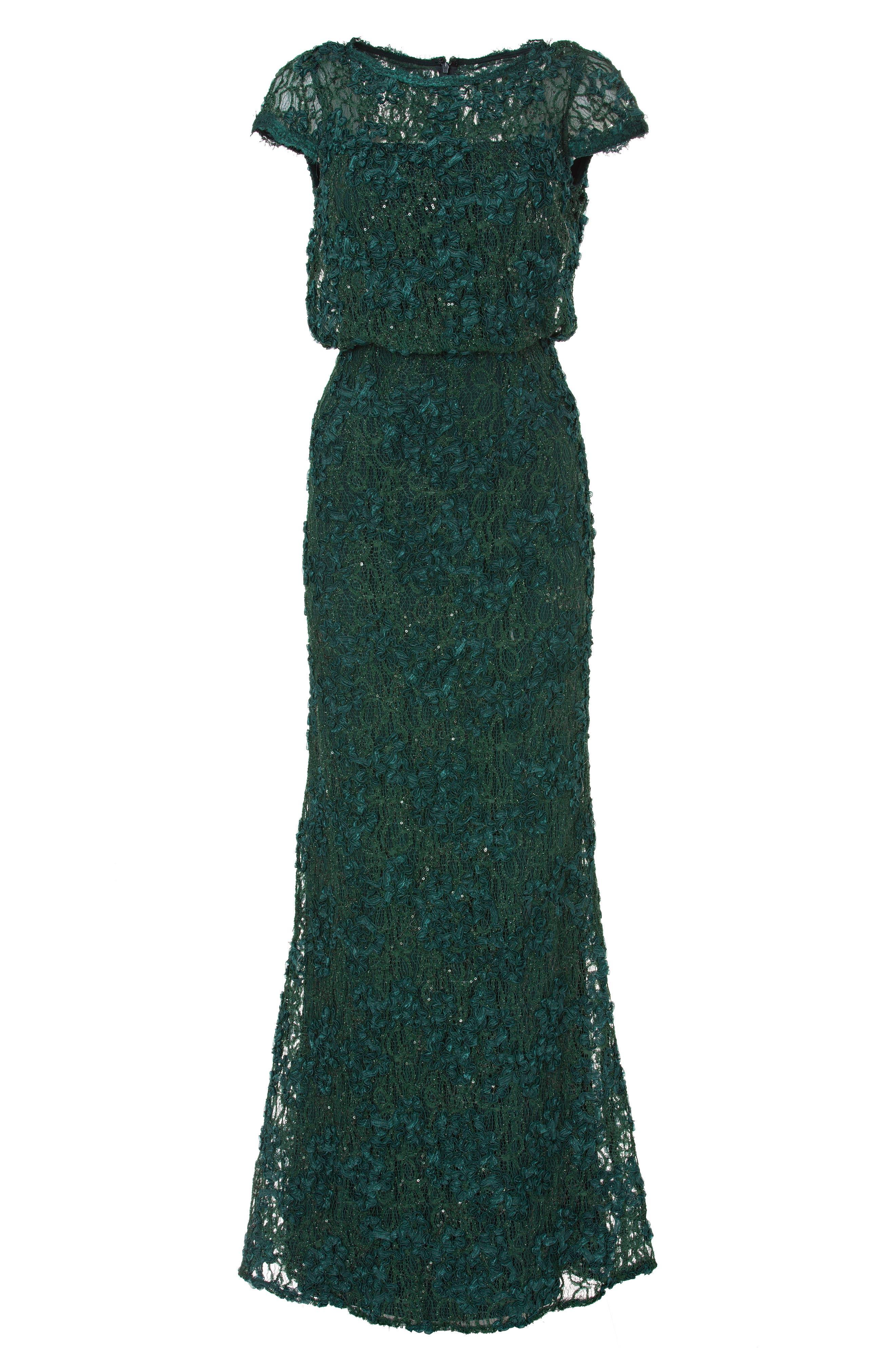 JS COLLECTIONS,                             Sequin Lace Blouson Gown,                             Alternate thumbnail 5, color,                             GREEN