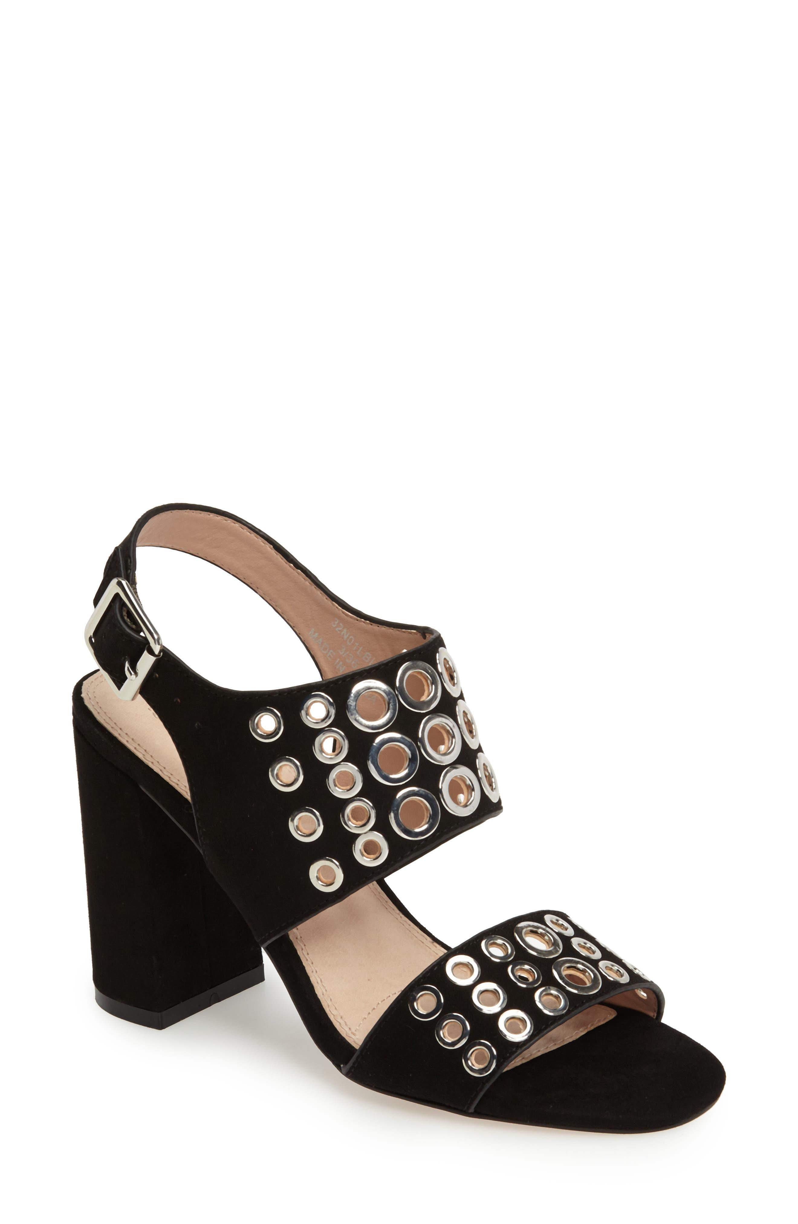 Nadia Rivet Block Heel Sandal,                             Main thumbnail 1, color,                             001