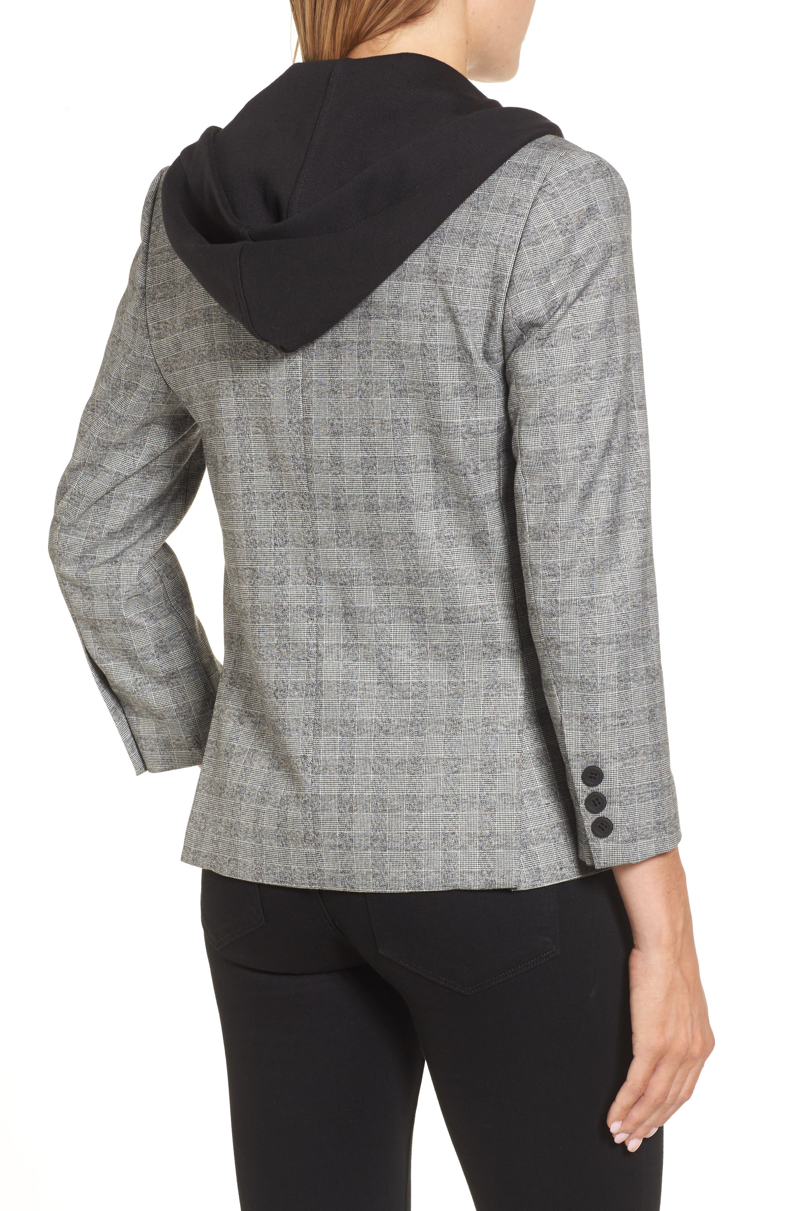 Menswear Removable Hood Plaid Blazer,                             Alternate thumbnail 2, color,                             086