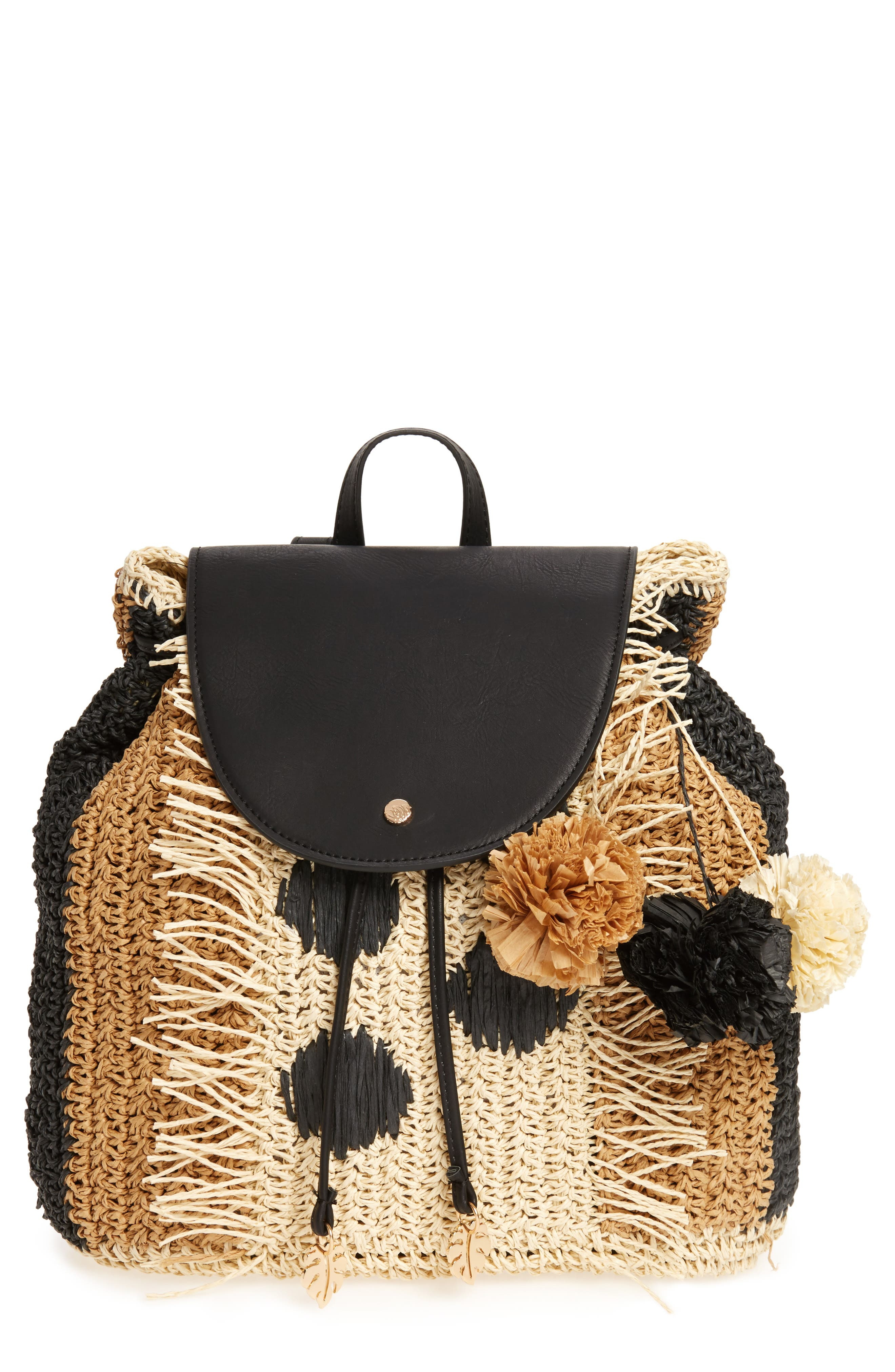 Bahama Mama Straw Backpack,                         Main,                         color, 001