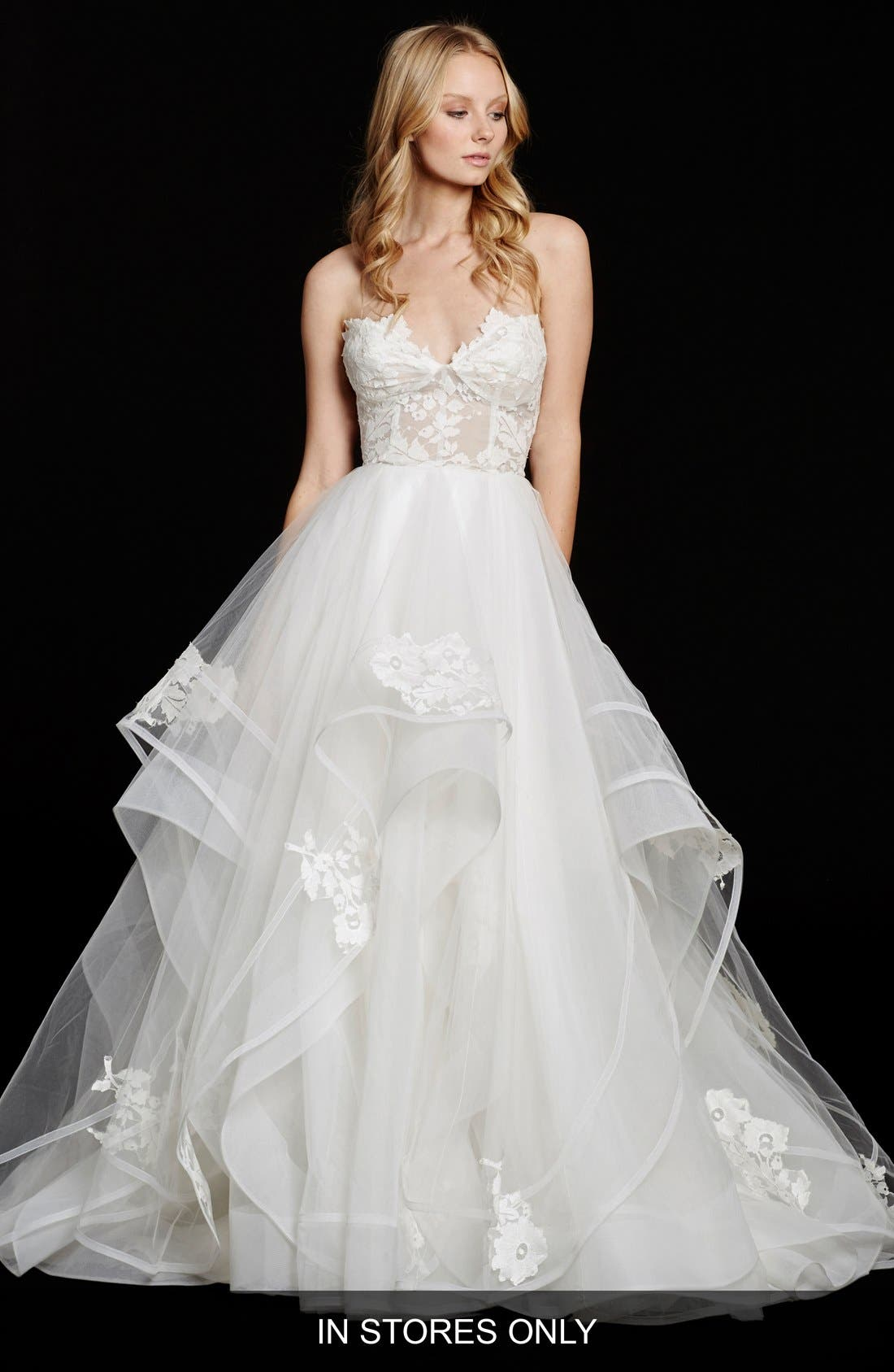 Chantelle Strapless Lace & Tulle Ballgown,                             Main thumbnail 1, color,                             IVORY