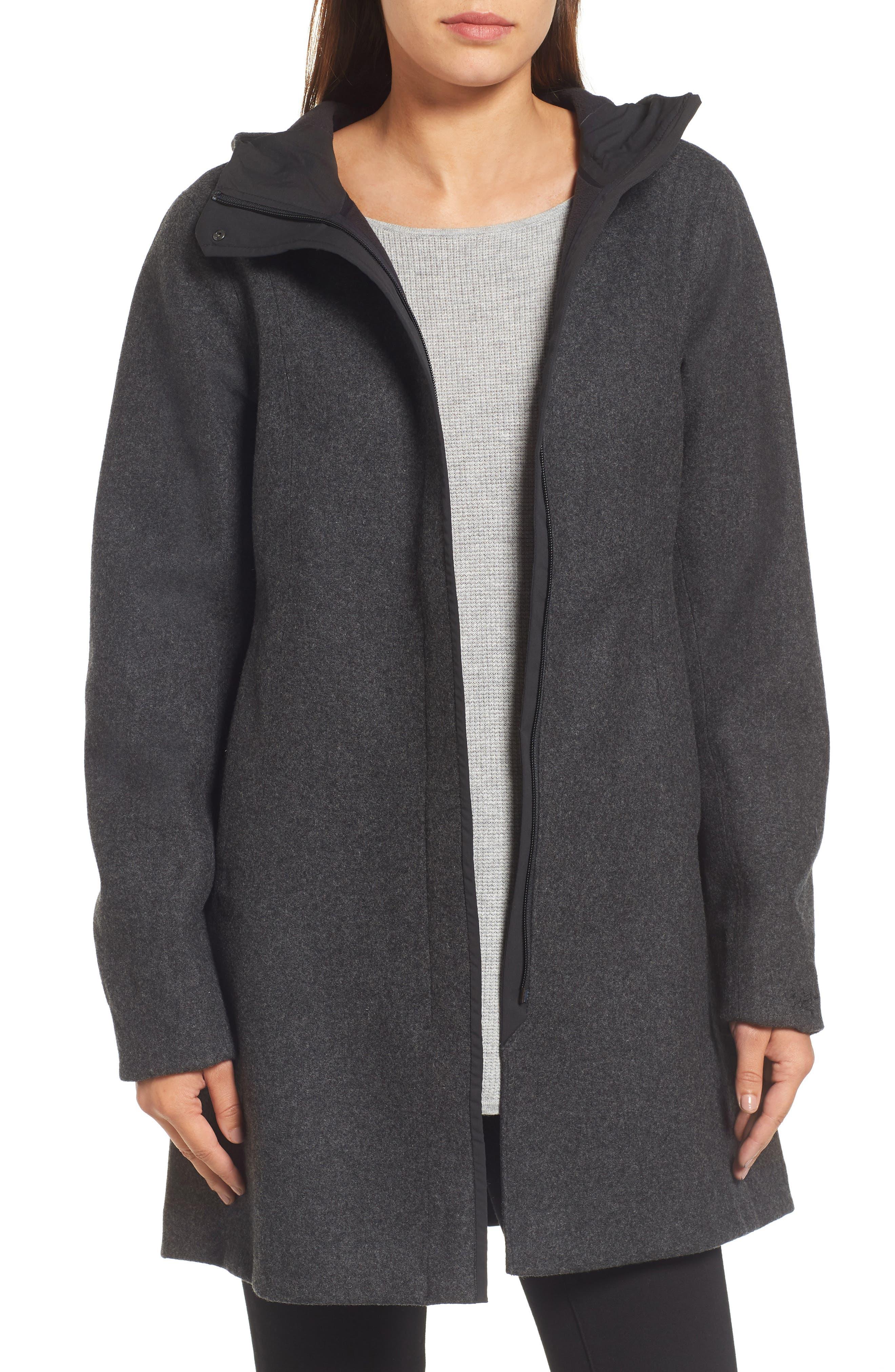 Embra Hooded Walking Coat,                             Main thumbnail 1, color,                             001