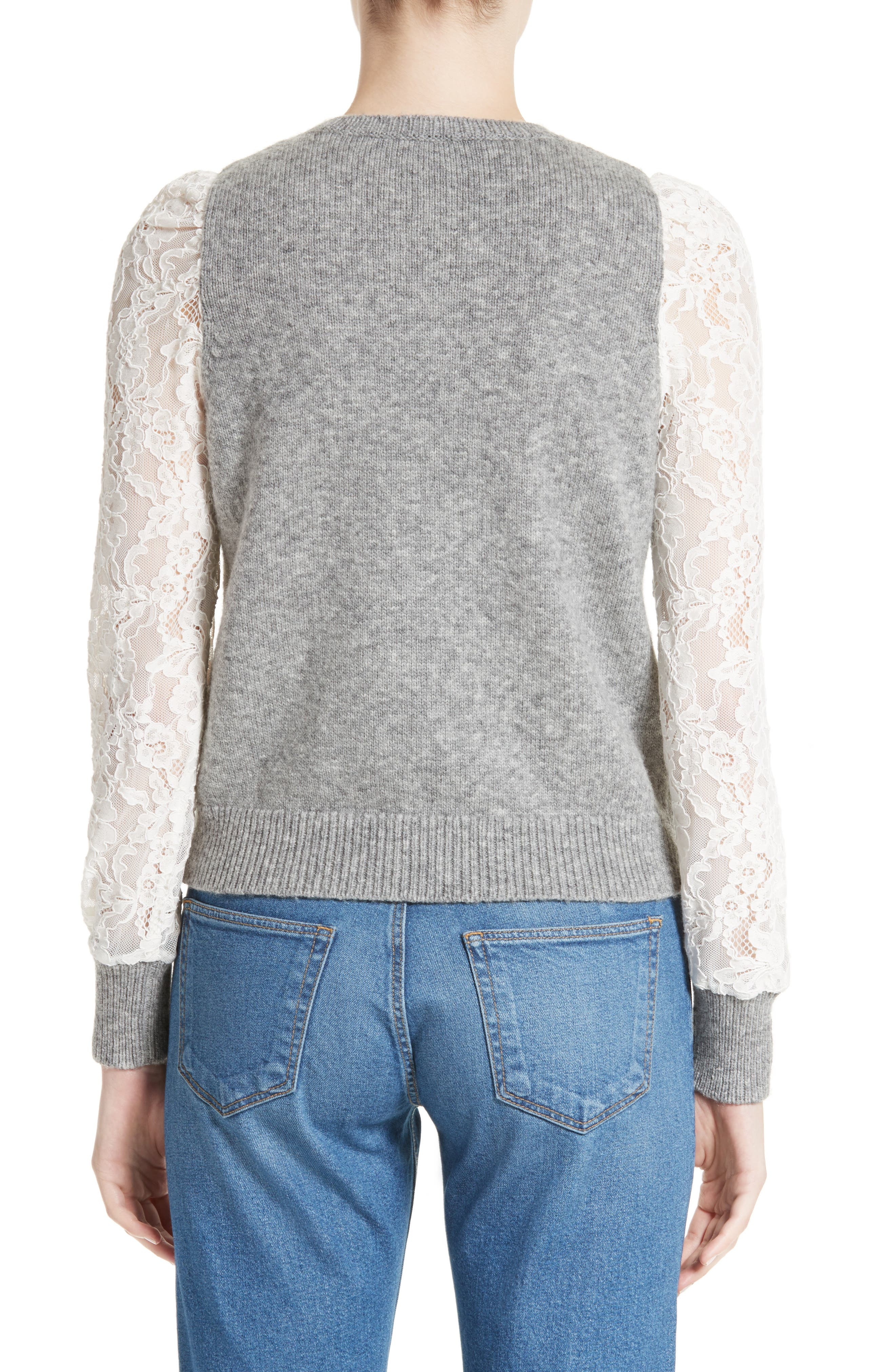 REBECCA TAYLOR,                             Lace Sleeve Sweater,                             Alternate thumbnail 2, color,                             063