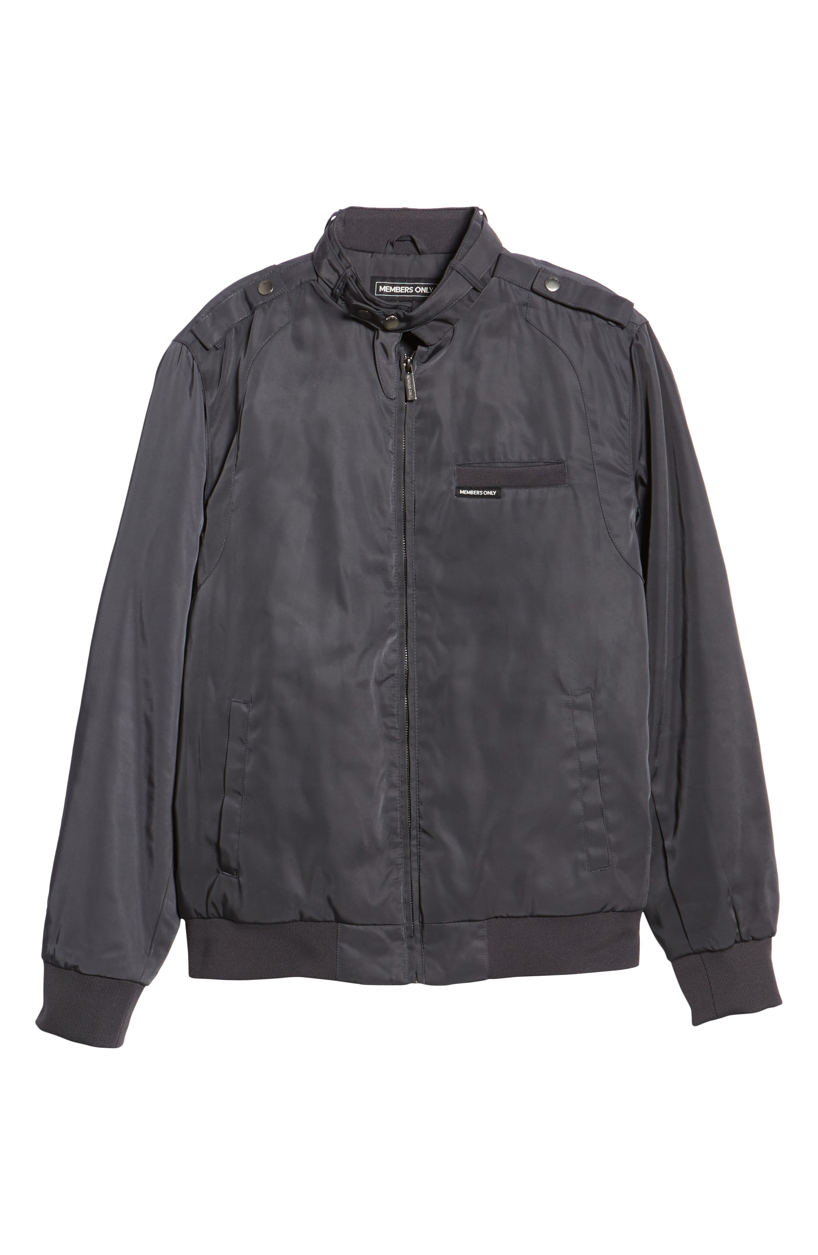 Iconic Racer Jacket,                             Alternate thumbnail 5, color,                             CHARCOAL