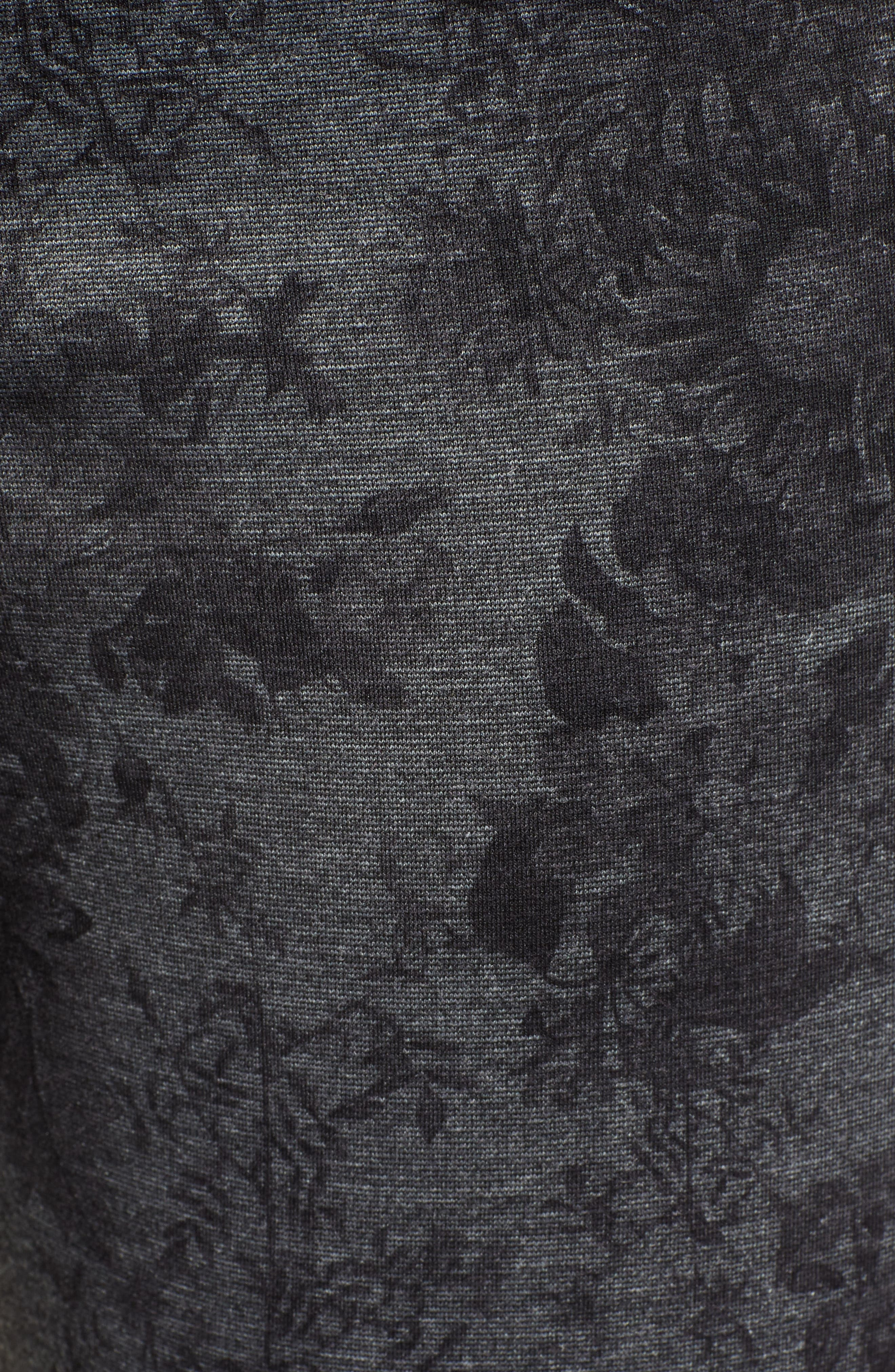 Ab-Solution Floral Ponte Ankle Pants,                             Alternate thumbnail 6, color,                             CHARCOAL FLORAL