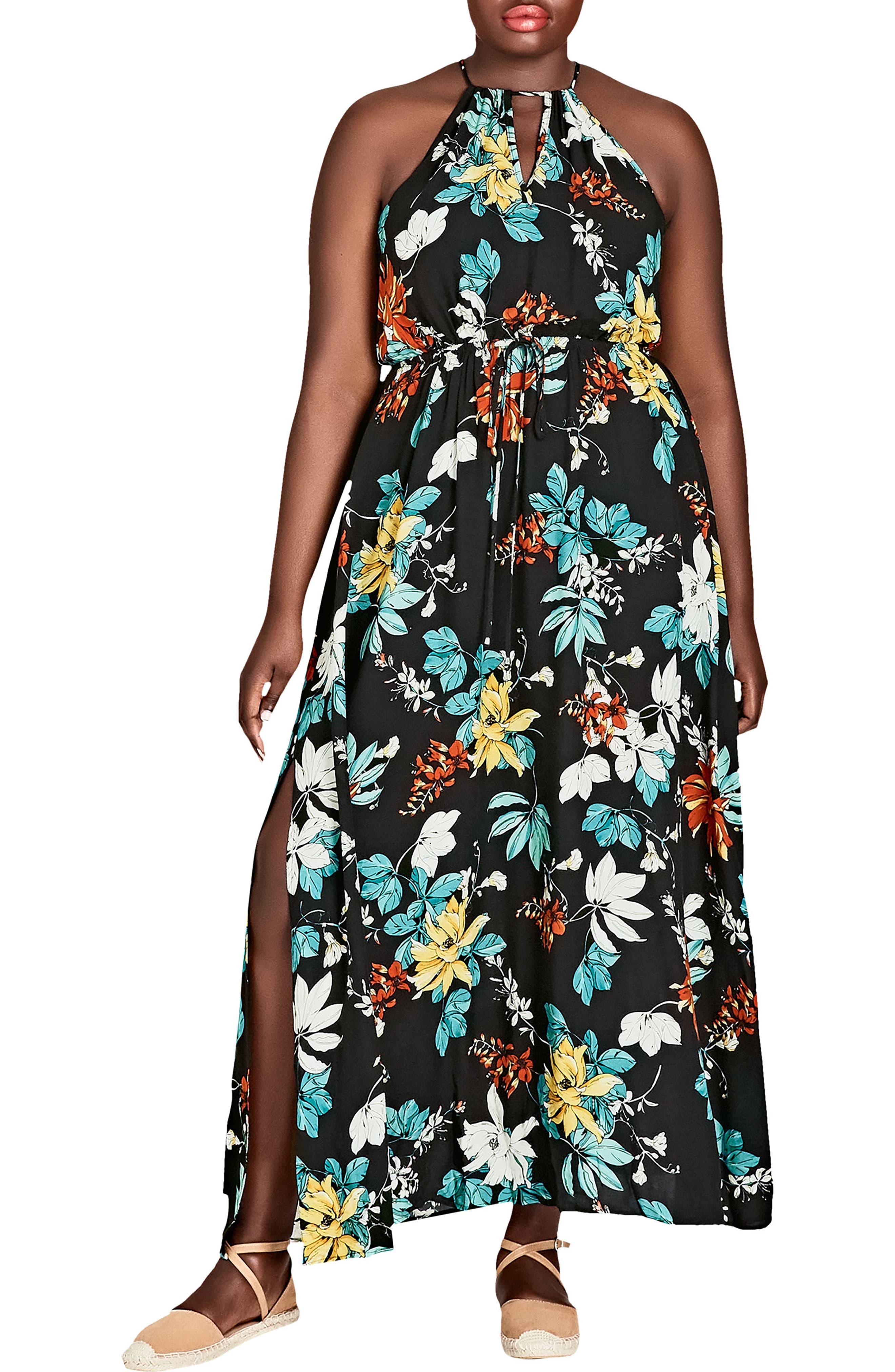 Tropical Night Maxi Dress,                             Main thumbnail 1, color,                             TROPIC NIGHT