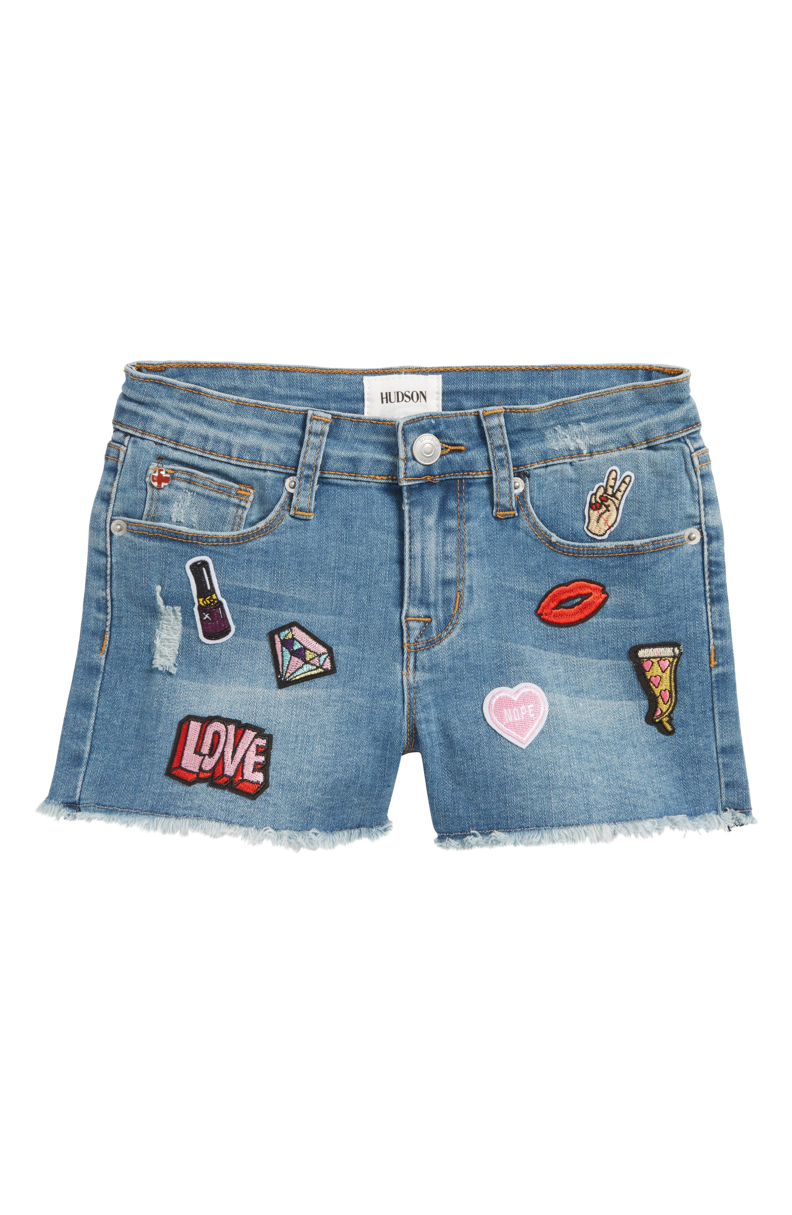 Patchy Cutoff Denim Shorts,                         Main,                         color, 400