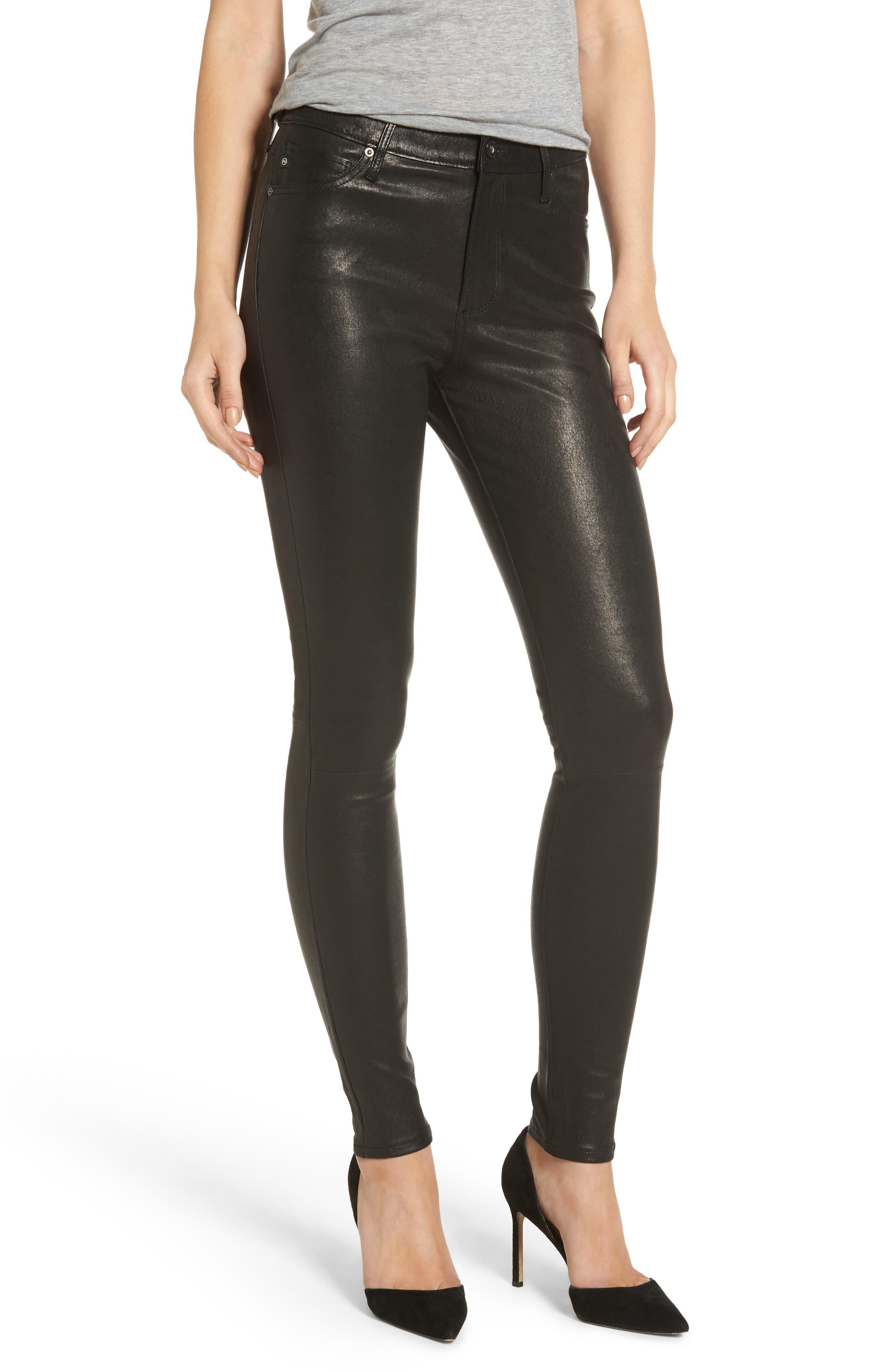 Farrah Leather Skinny Jeans,                             Main thumbnail 1, color,