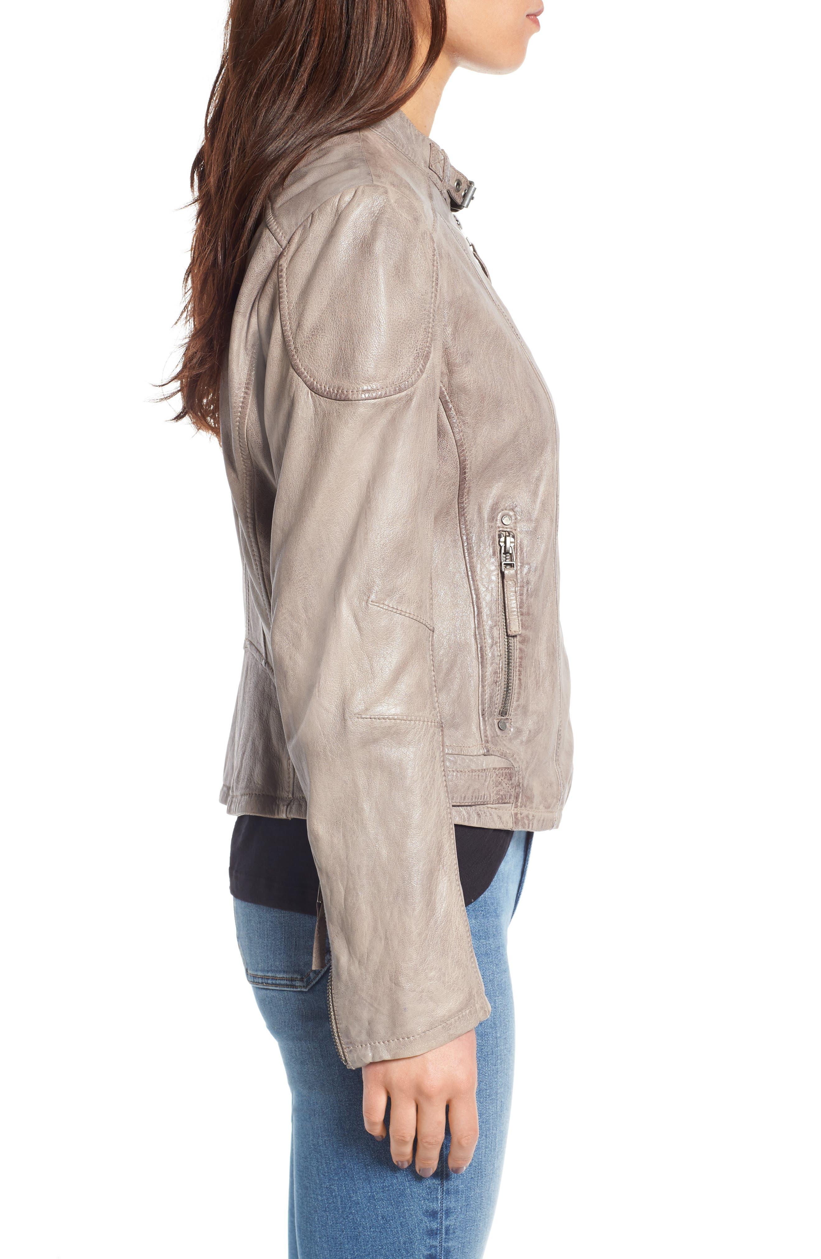 Leather Moto Jacket,                             Alternate thumbnail 3, color,                             020