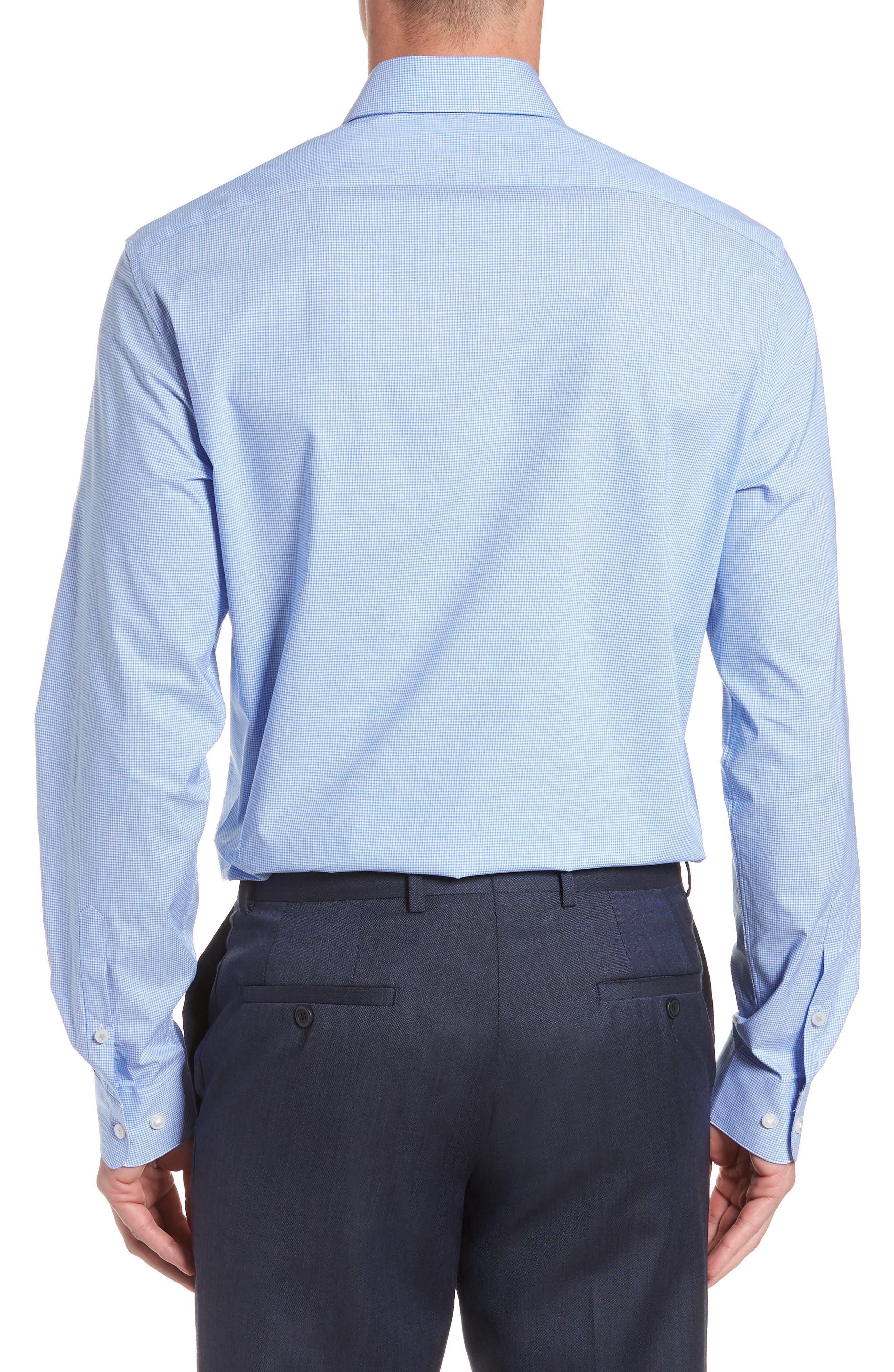 Microcheck Regular Fit Dress Shirt,                             Alternate thumbnail 3, color,                             OCEAN BLUE