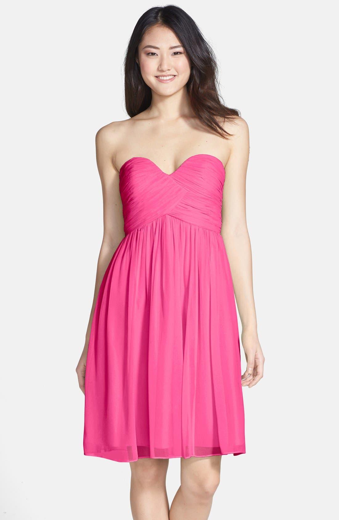 'Morgan' Strapless Silk Chiffon Dress,                             Main thumbnail 30, color,