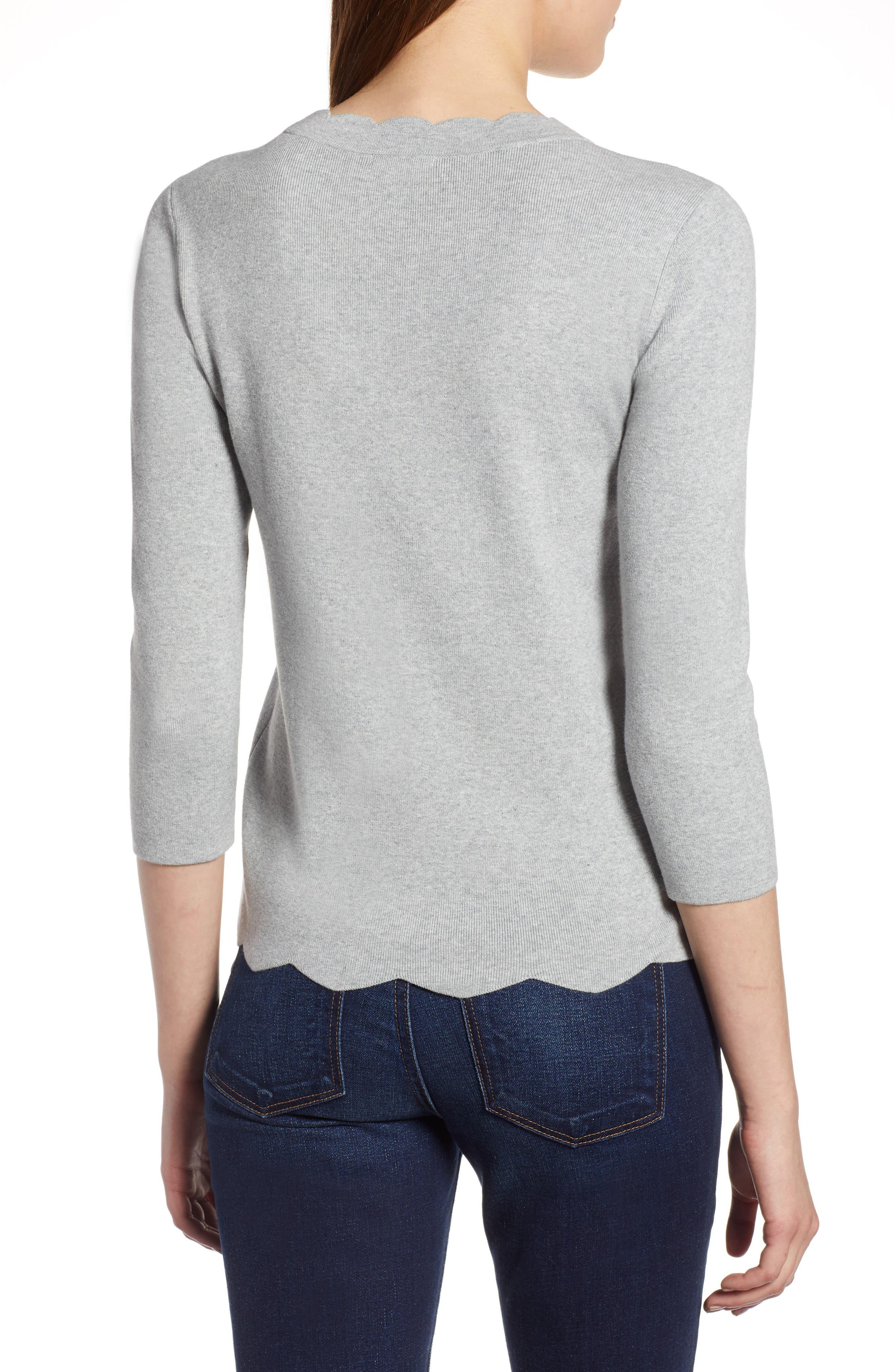 Halogen Scallop Edge Sweater,                             Alternate thumbnail 12, color,