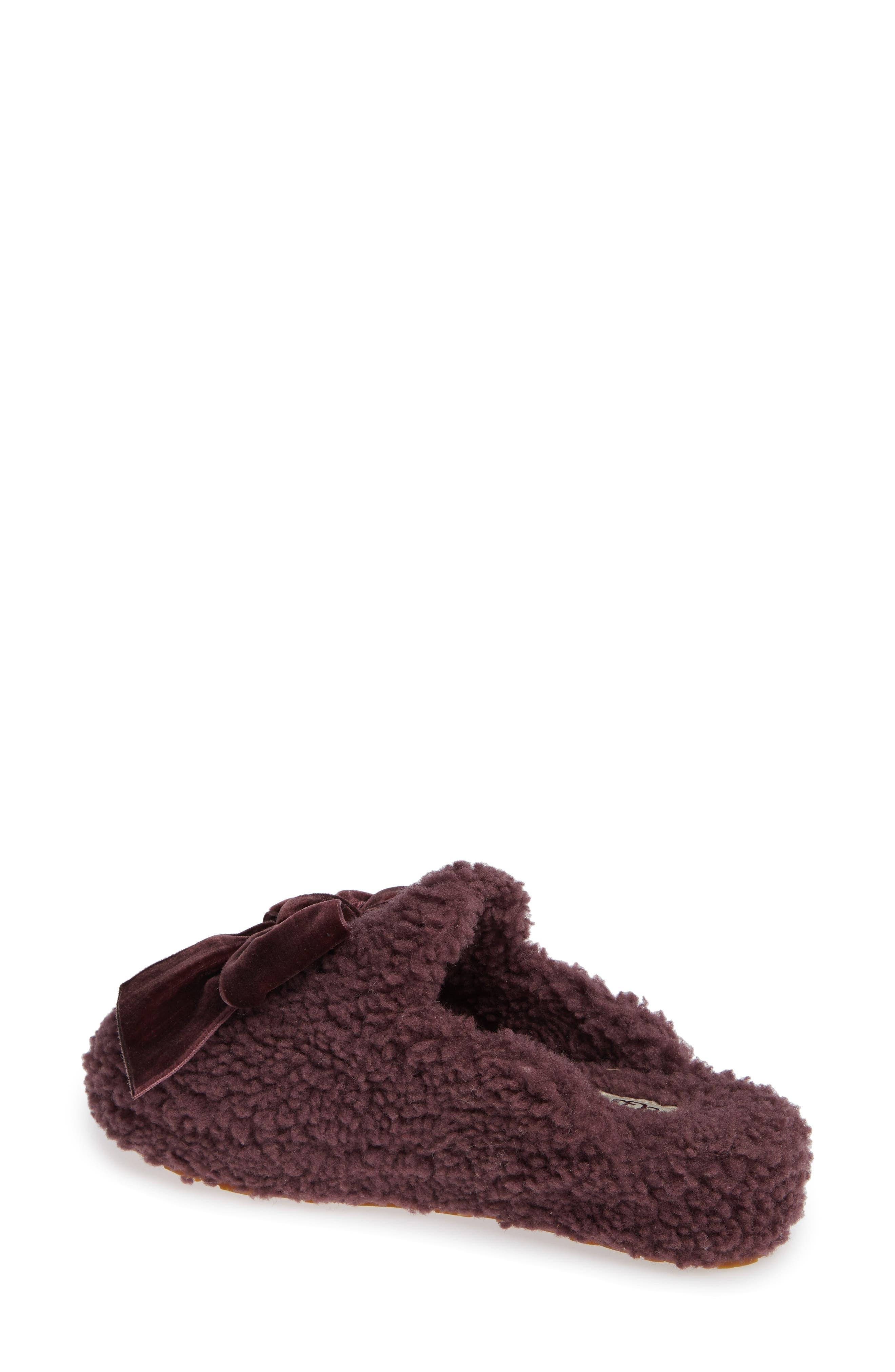 Addison Velvet Bow Genuine Shearling Slipper,                             Alternate thumbnail 2, color,                             PORT