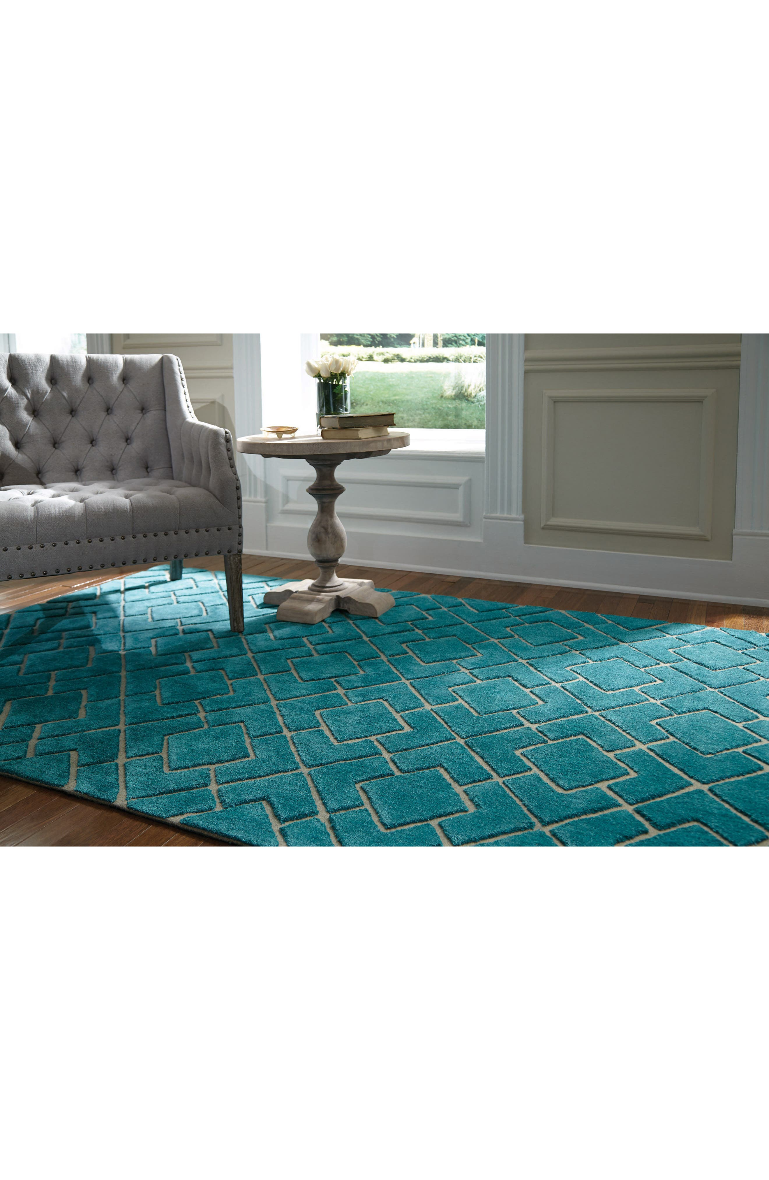 VILLA HOME COLLECTION,                             'Over Tufted - Turquoise' Rug,                             Alternate thumbnail 3, color,                             440
