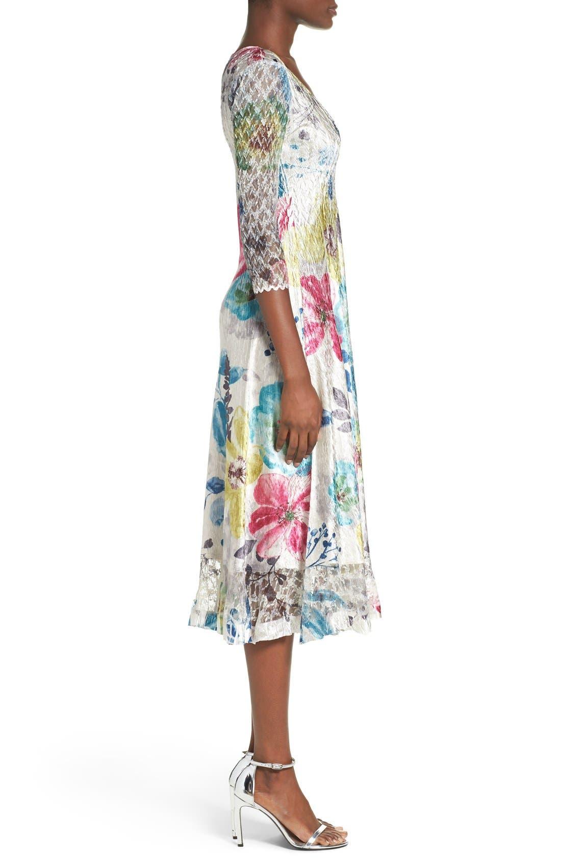 Lace & Charmeuse A-Line Dress,                             Alternate thumbnail 2, color,                             109