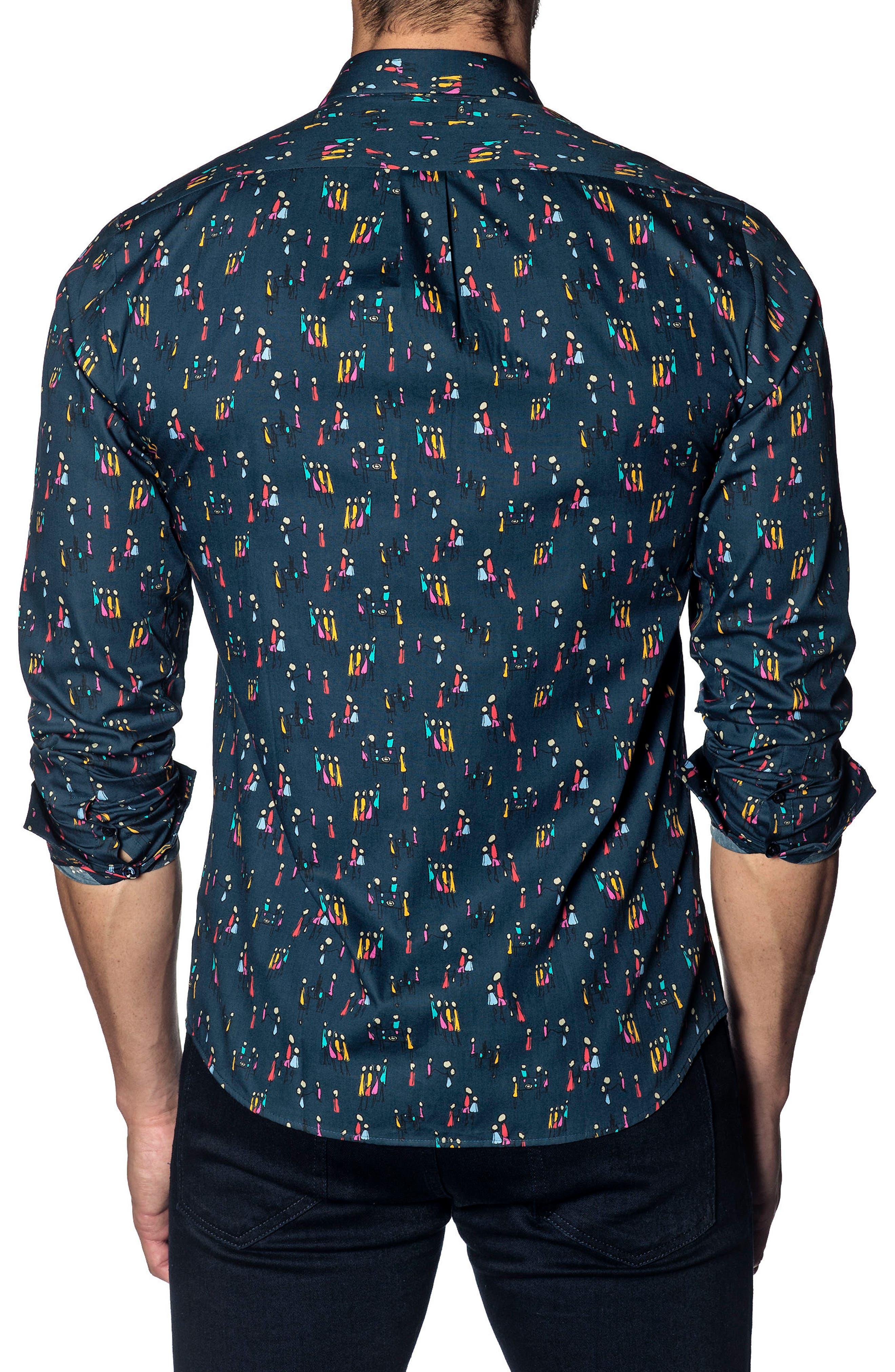 Trim Fit Sport Shirt,                             Alternate thumbnail 2, color,                             NAVY MULTI PEOPLE PRINT