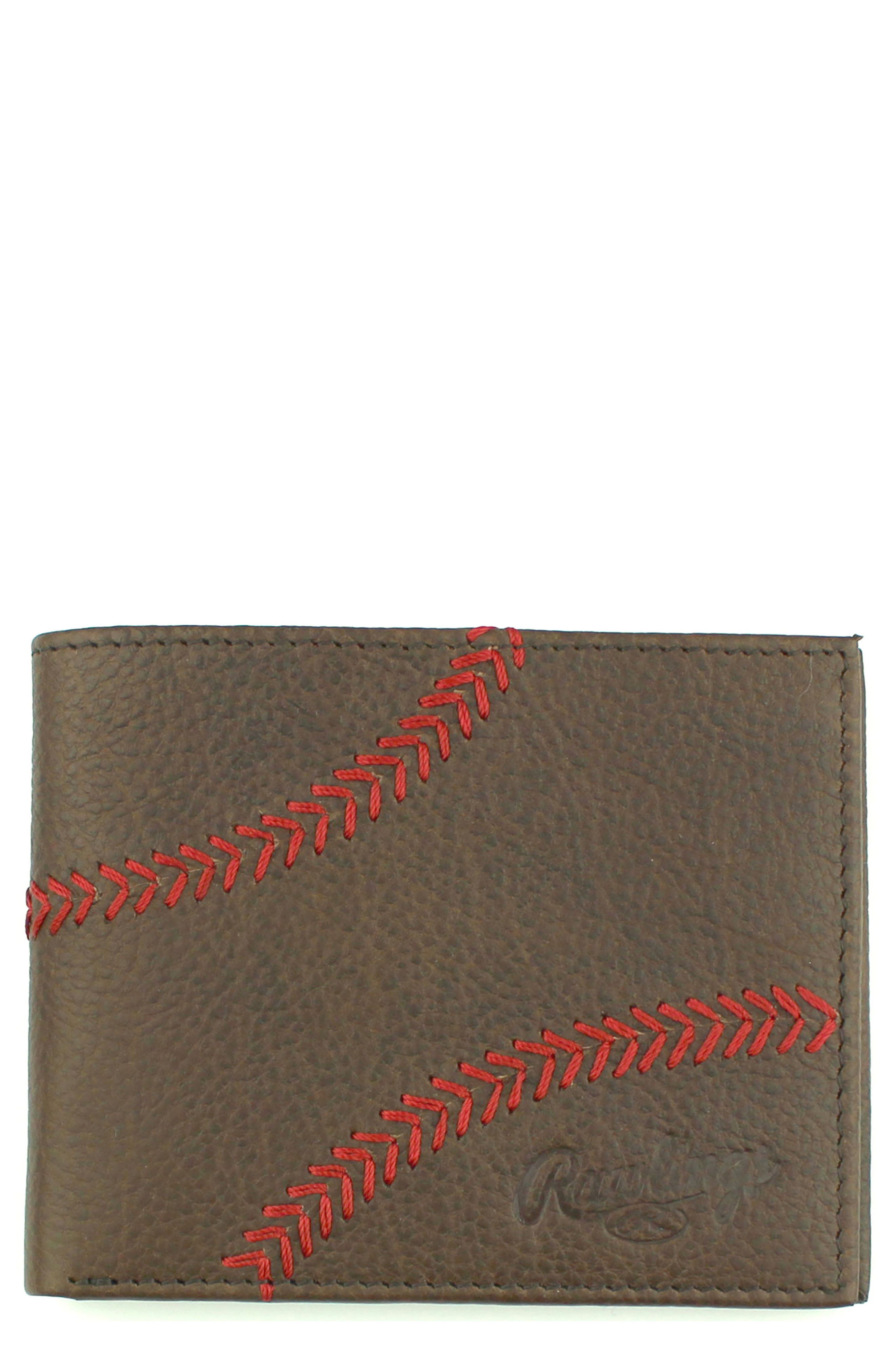 Home Run Bifold Leather Wallet,                             Main thumbnail 2, color,