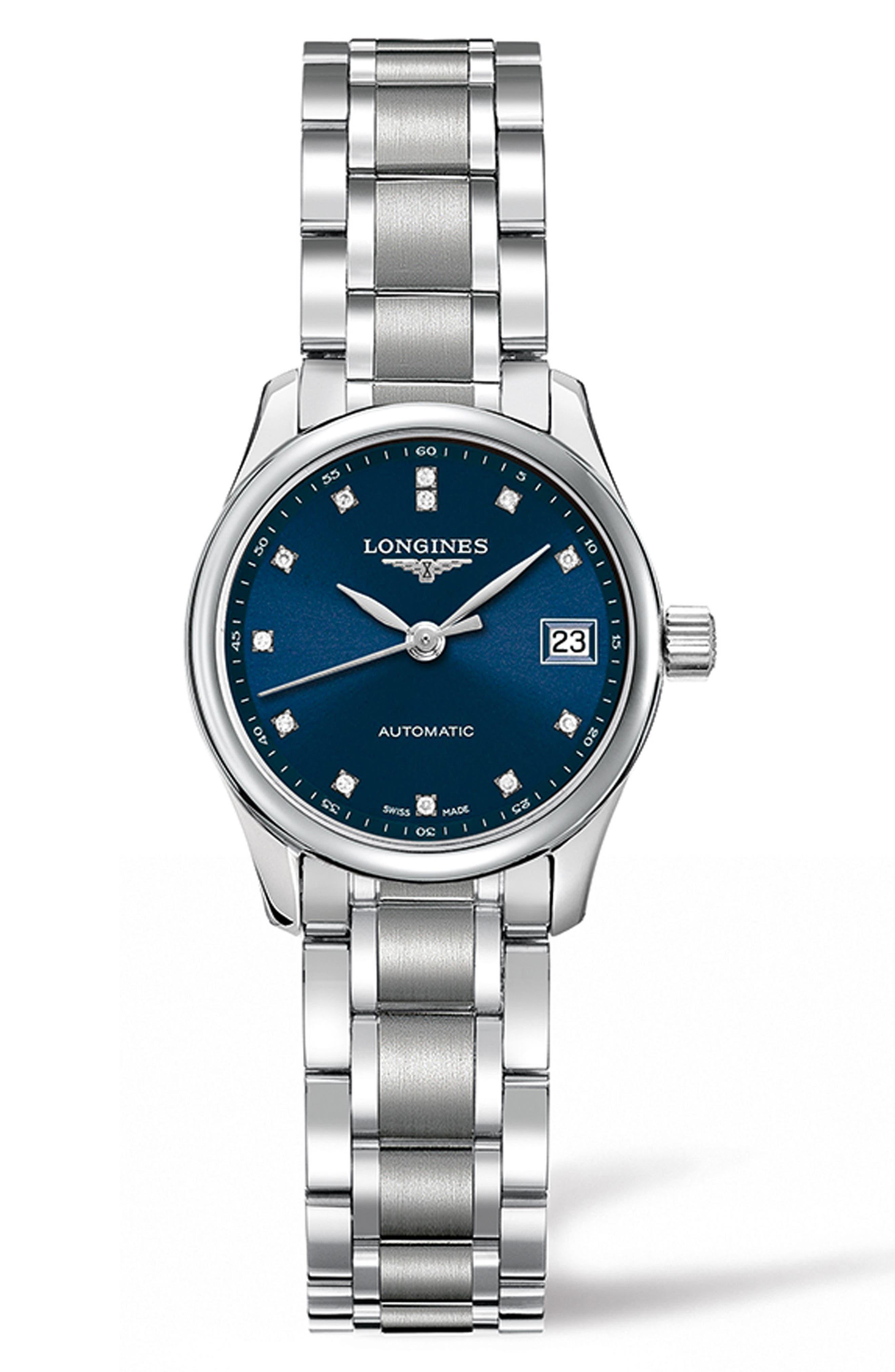 Master Automatic Diamond Bracelet Watch, 25.5mm,                             Main thumbnail 1, color,                             SILVER/ BLUE/ SILVER