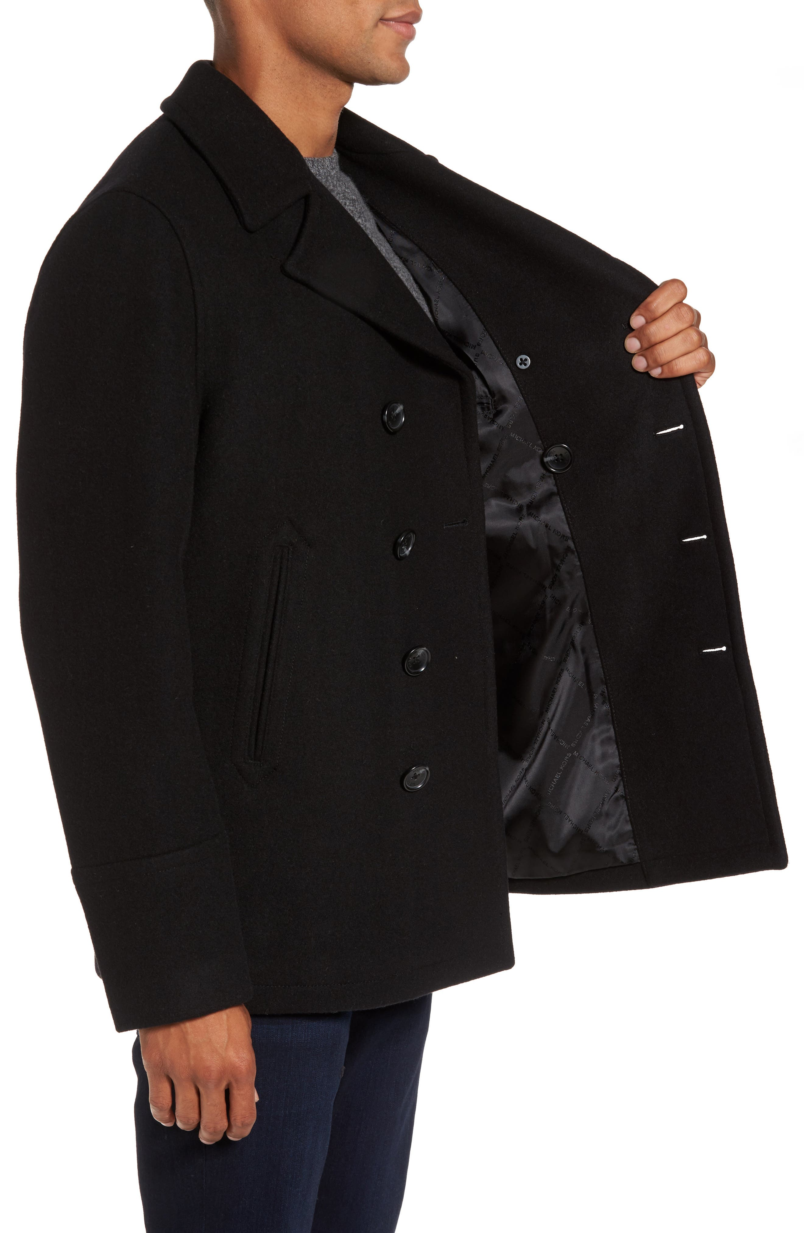 Wool Blend Double Breasted Peacoat,                             Alternate thumbnail 108, color,