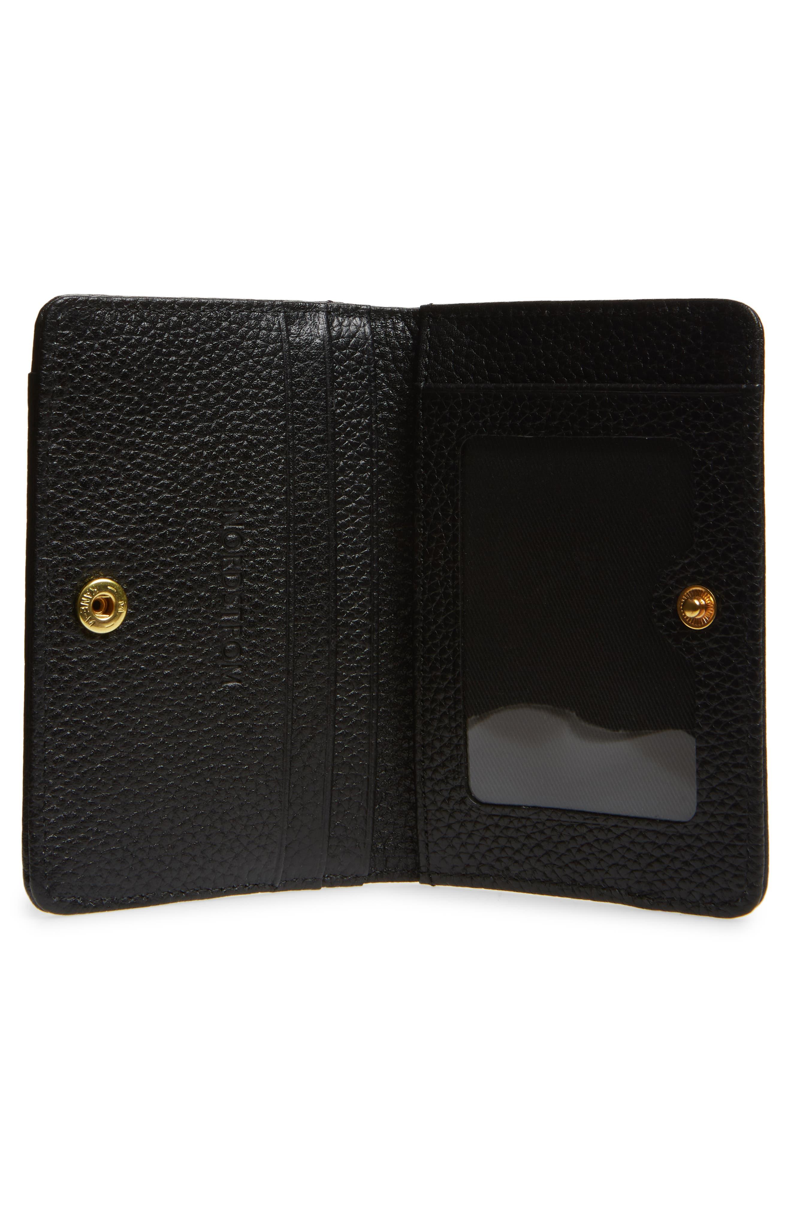 Ruby Pebbled Leather Cardholder,                             Alternate thumbnail 2, color,                             BLACK