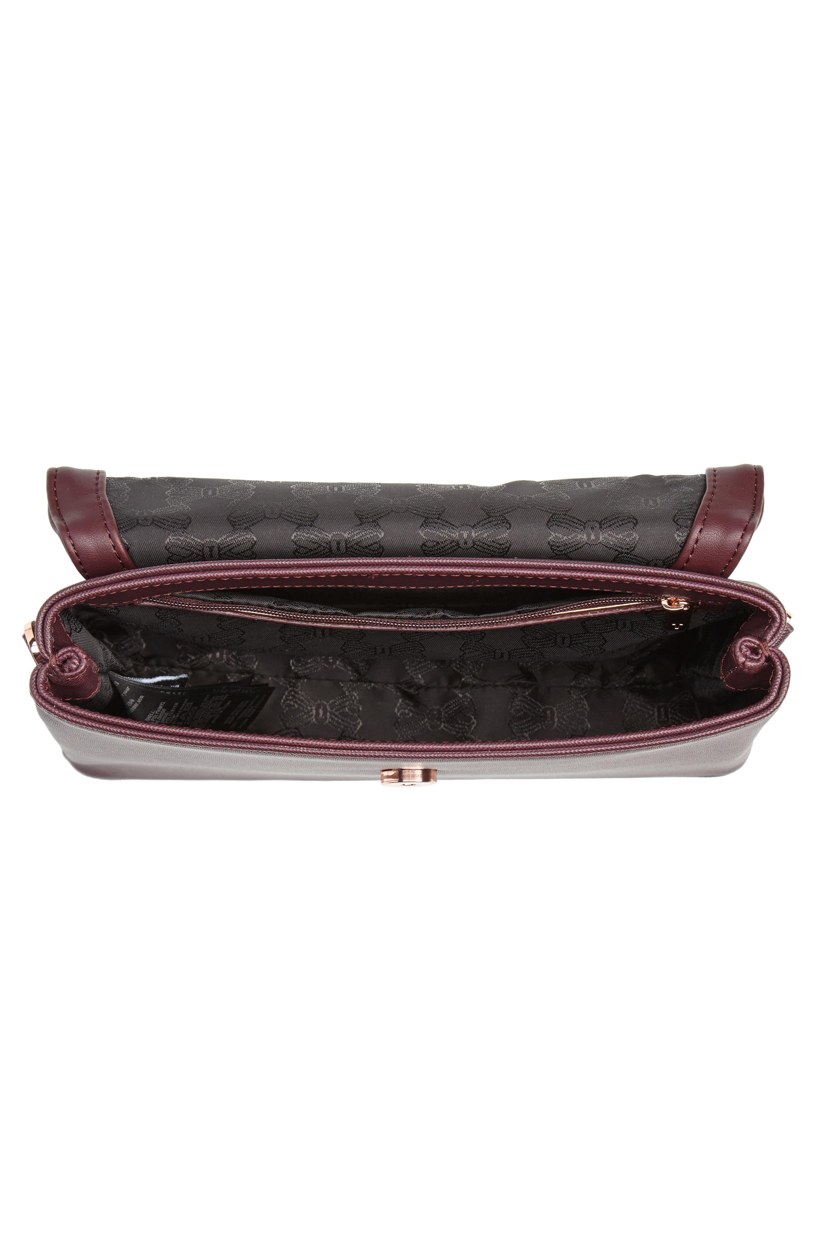 Faux Leather Crossbody Bag,                             Alternate thumbnail 4, color,                             DEEP PURPLE