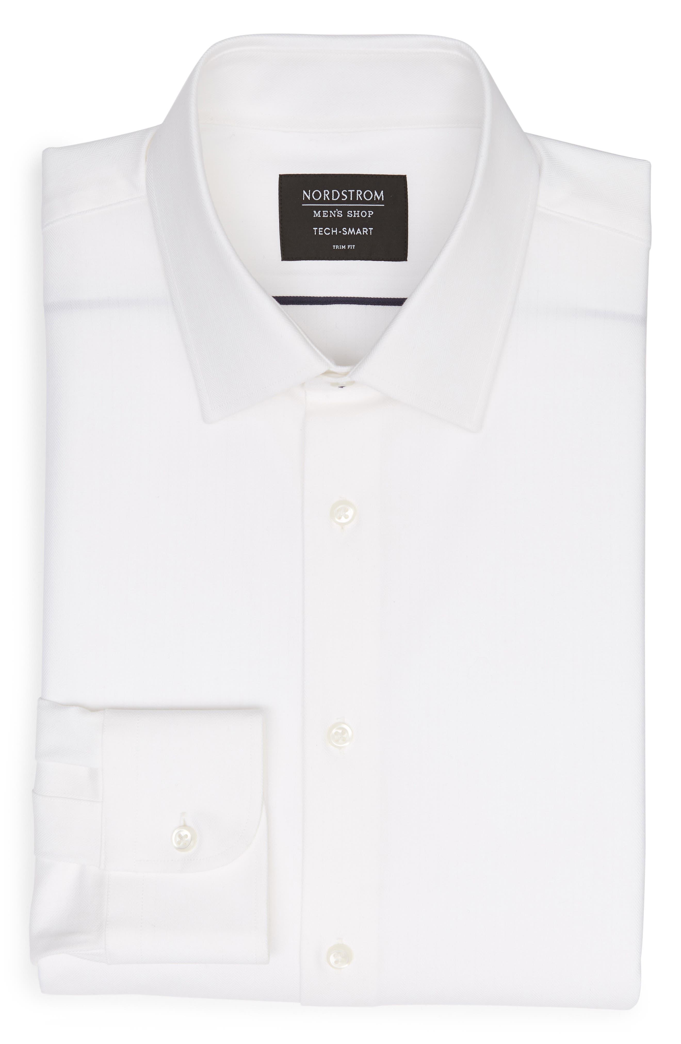 Tech-Smart Trim Fit Stretch Herringbone Dress Shirt,                             Alternate thumbnail 5, color,                             WHITE