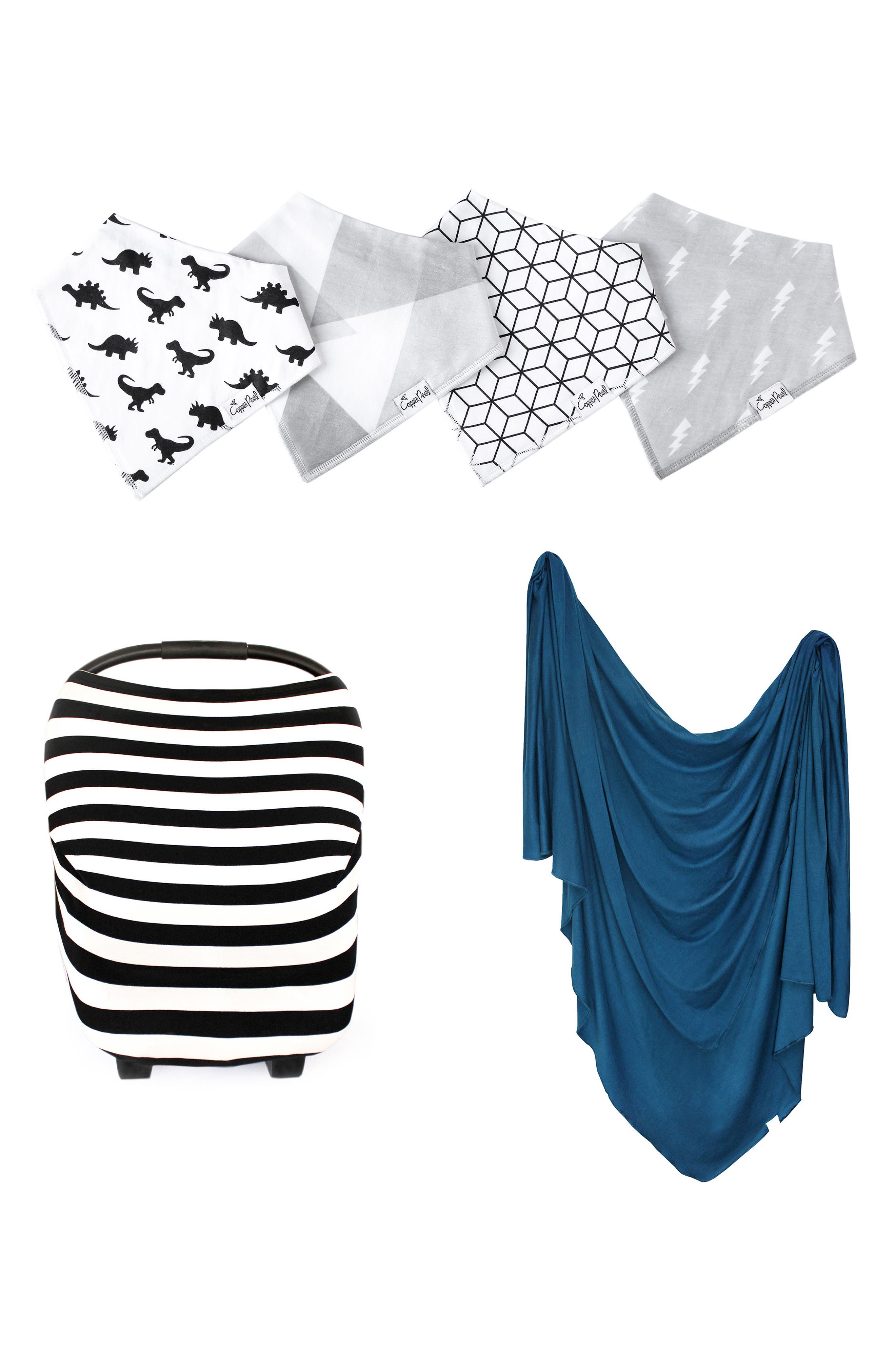 Infant Copper Pearl River Bib Multiuse Cover  Swaddle Blanket Gift Set
