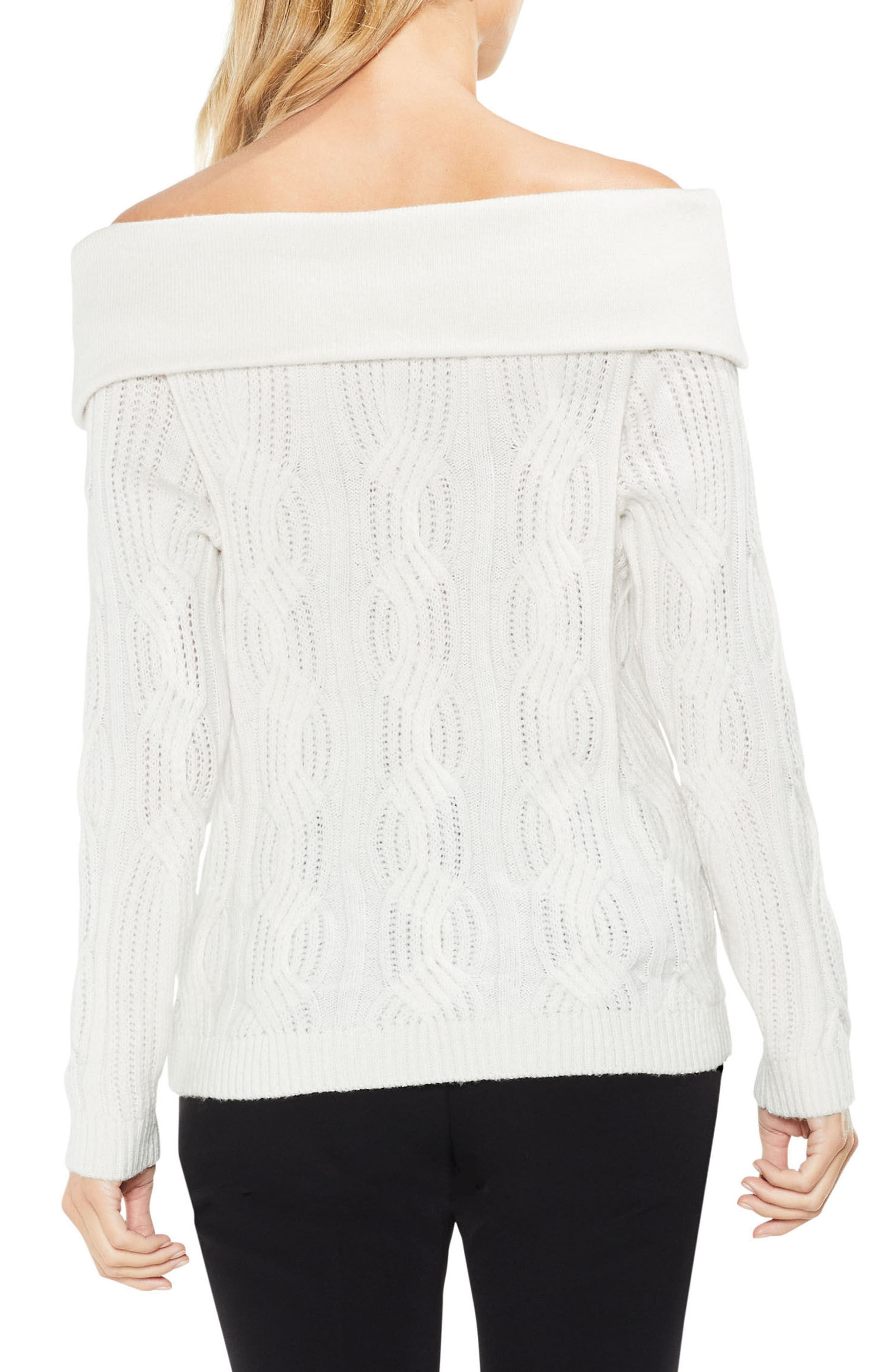 Off the Shoulder Cable Sweater,                             Alternate thumbnail 4, color,