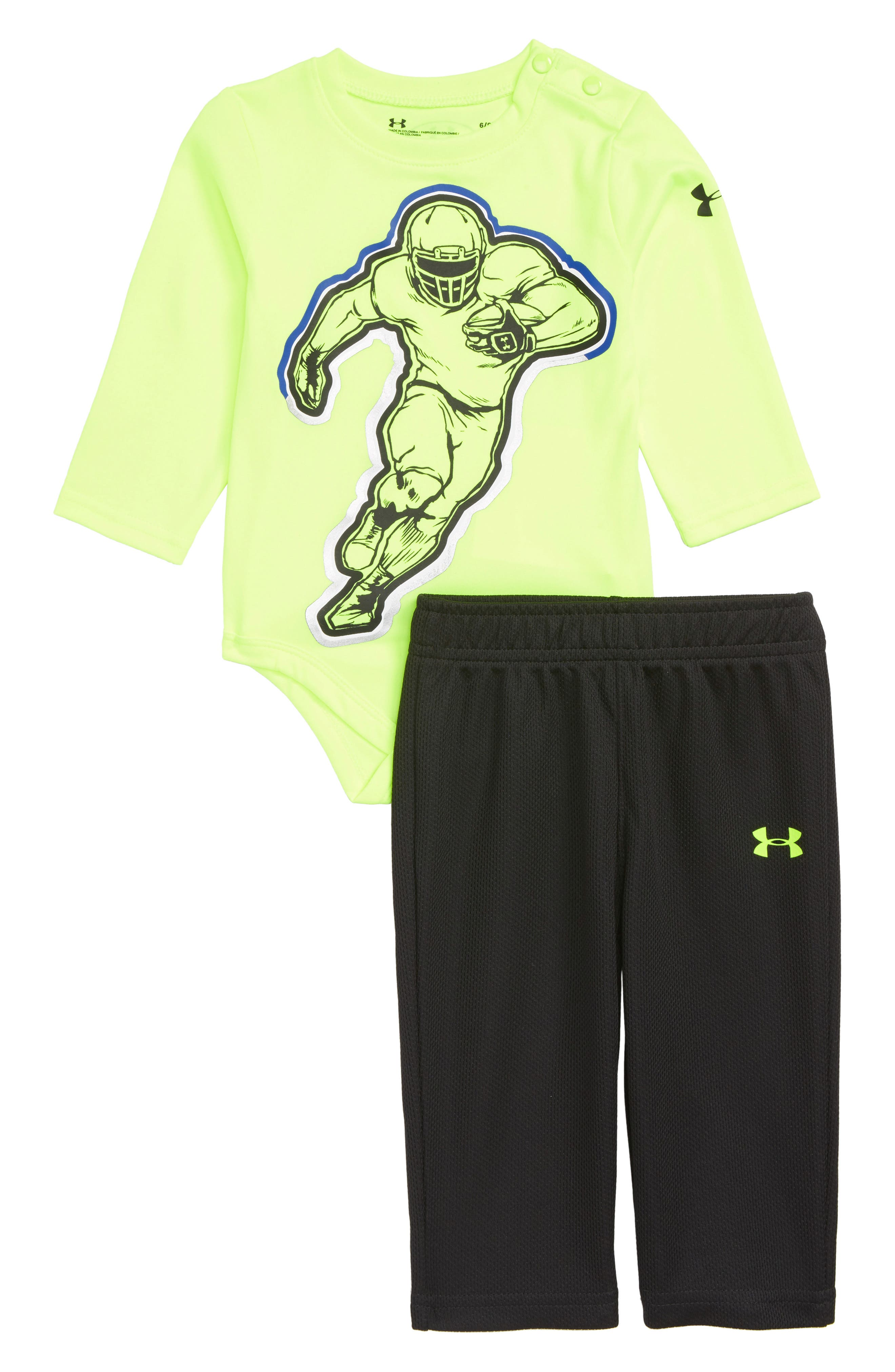 Infant Boys Under Armour Football Player Bodysuit  Mesh Pants Set