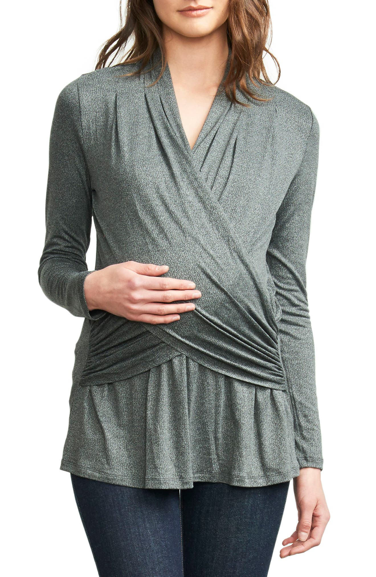 Drape Maternity/Nursing Top,                             Main thumbnail 1, color,                             020