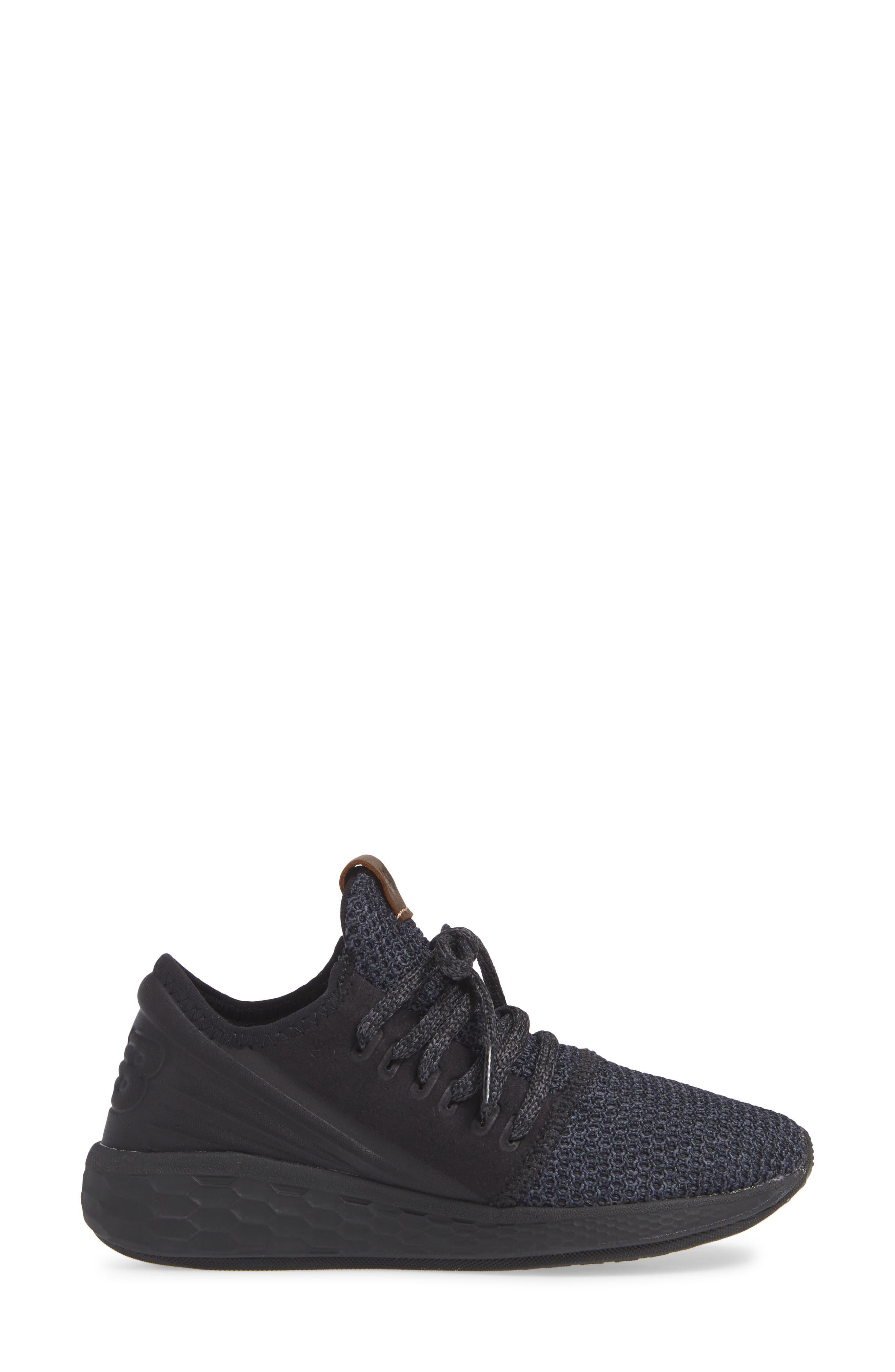 Fresh Foam Cruz Knit Running Shoe,                             Alternate thumbnail 3, color,                             BLACK/ BLACK