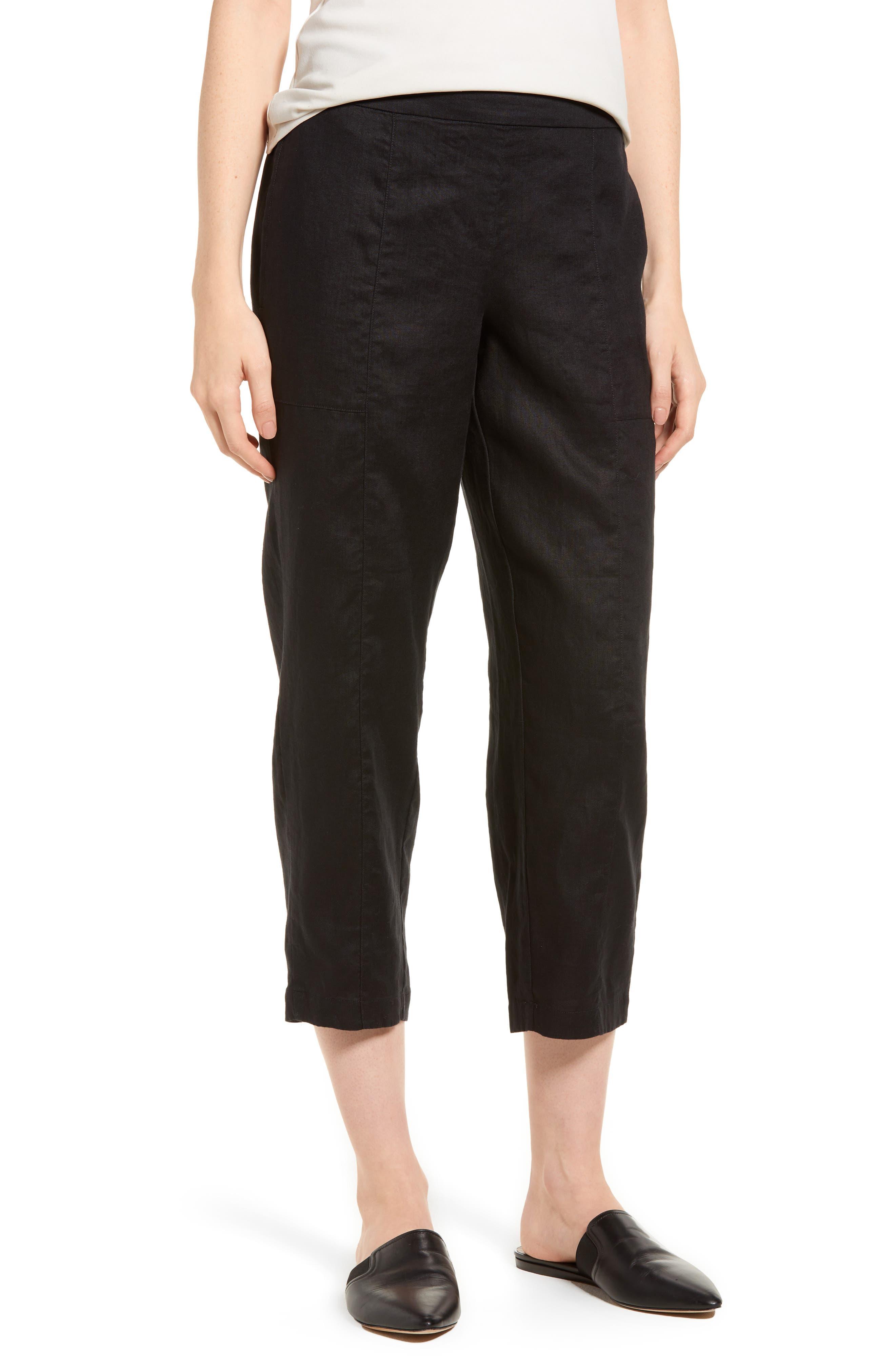 Organic Linen Crop Pants,                         Main,                         color,