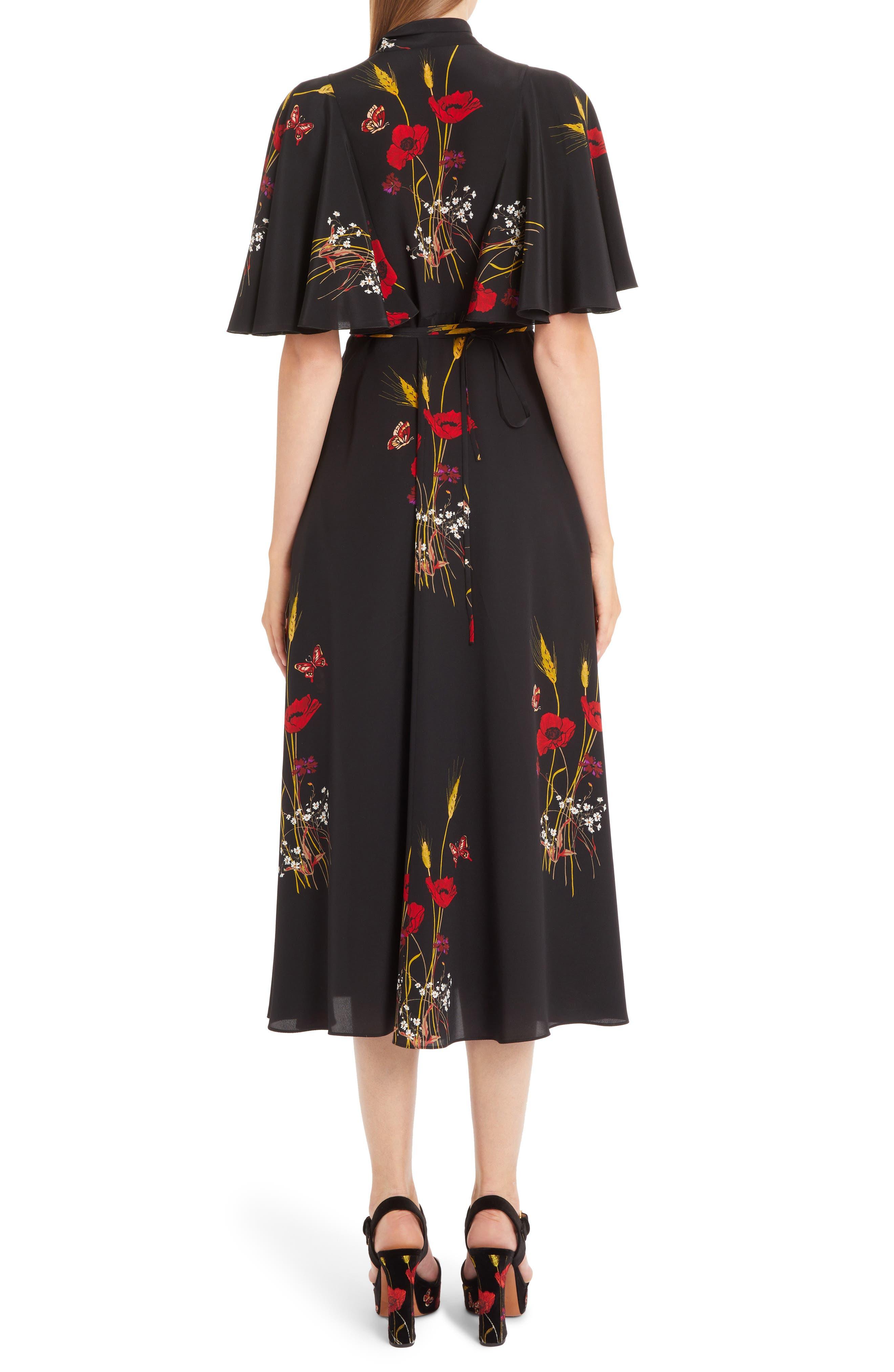 Floral Meadow Print Crêpe de Chine Faux Wrap Dress,                             Alternate thumbnail 2, color,                             BLACK/ MULTI COLOR
